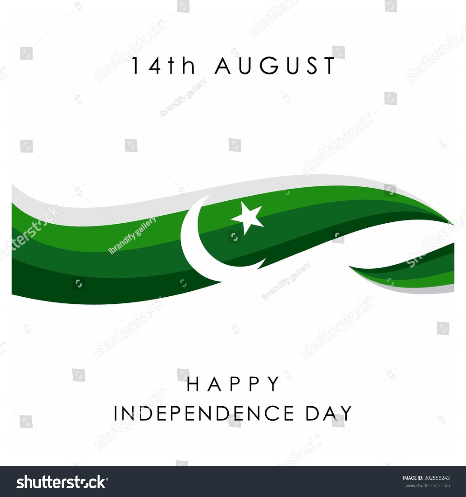 14 August Pakistan Independence Day Celebration Stock Vector