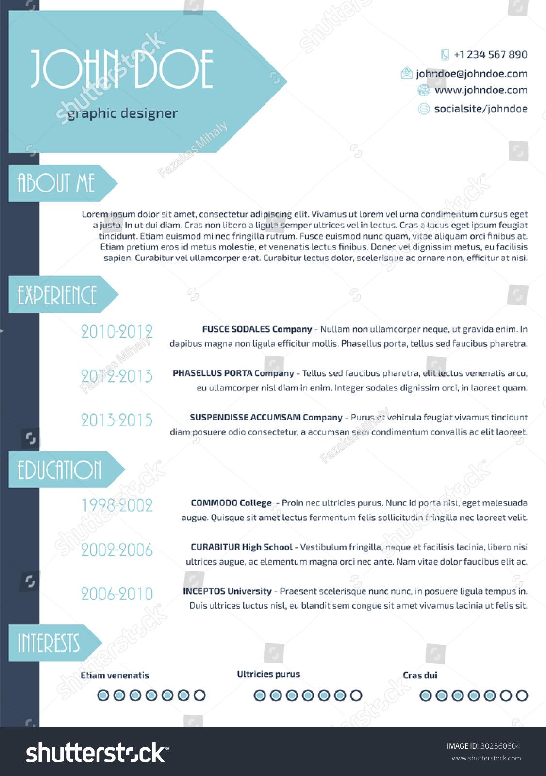 Simplistic Modern Resume Curriculum Vitae Cv Stock Vector Royalty