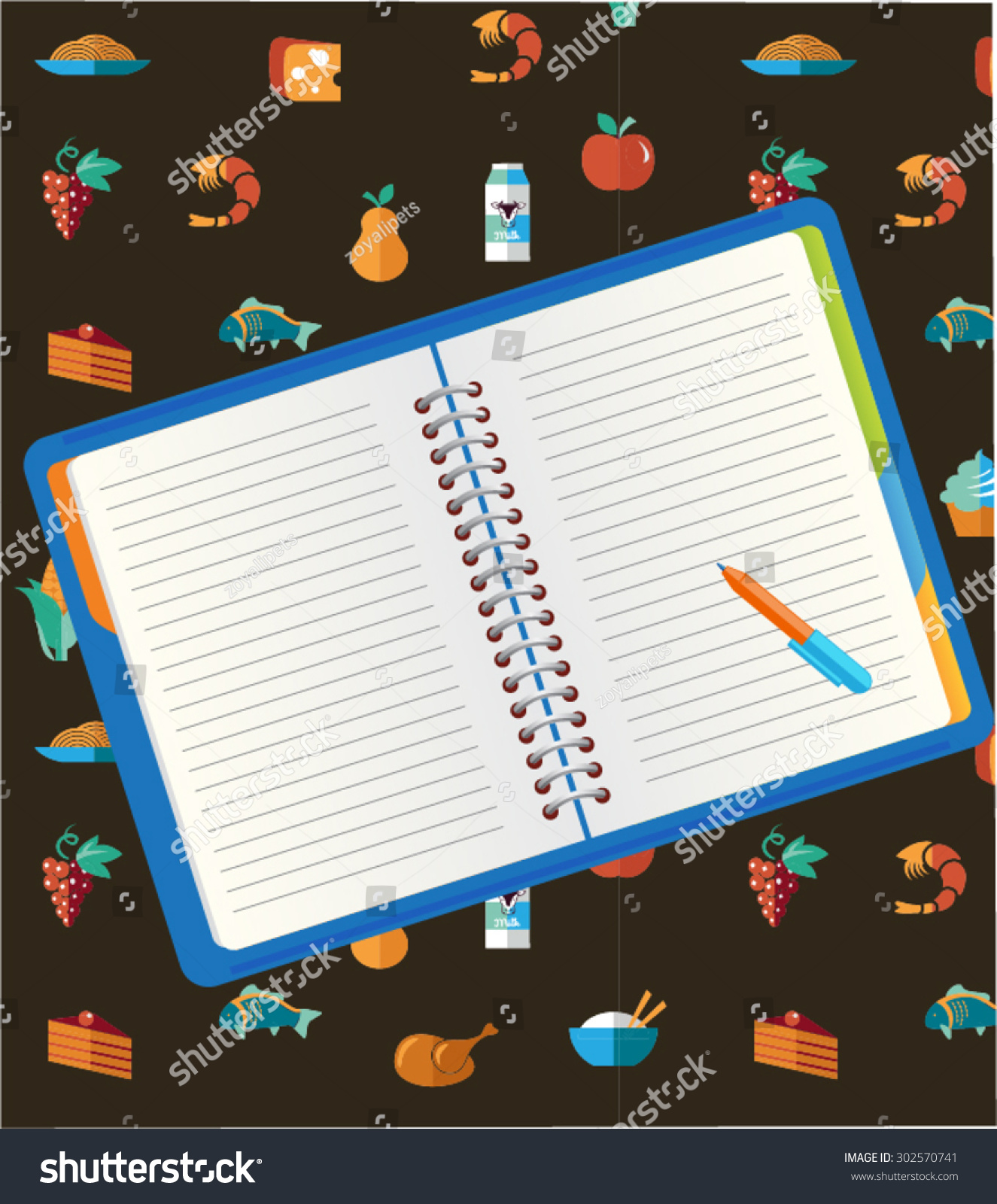 Recipe notebook pen on food icon stock vector 302570741 shutterstock forumfinder Image collections