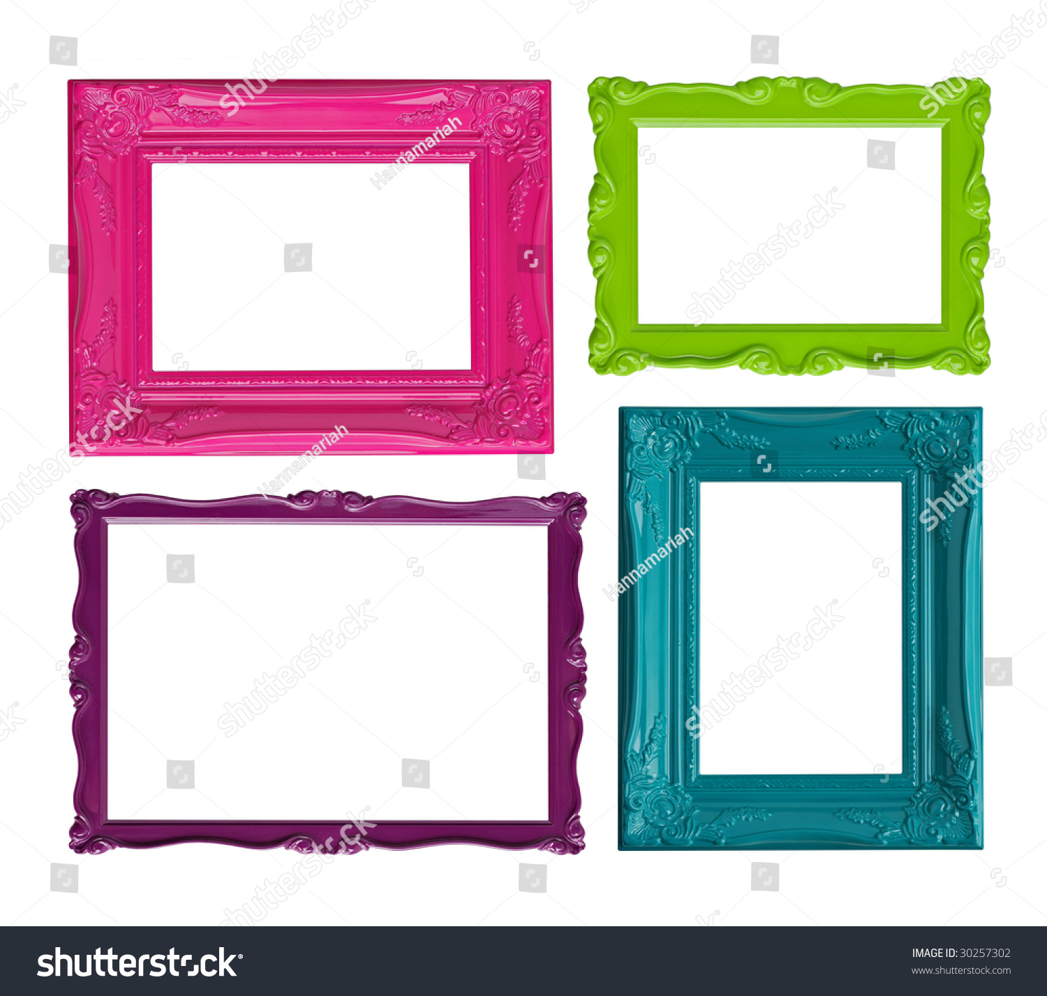 four contemporary picture frames in high resolution vibrant colors