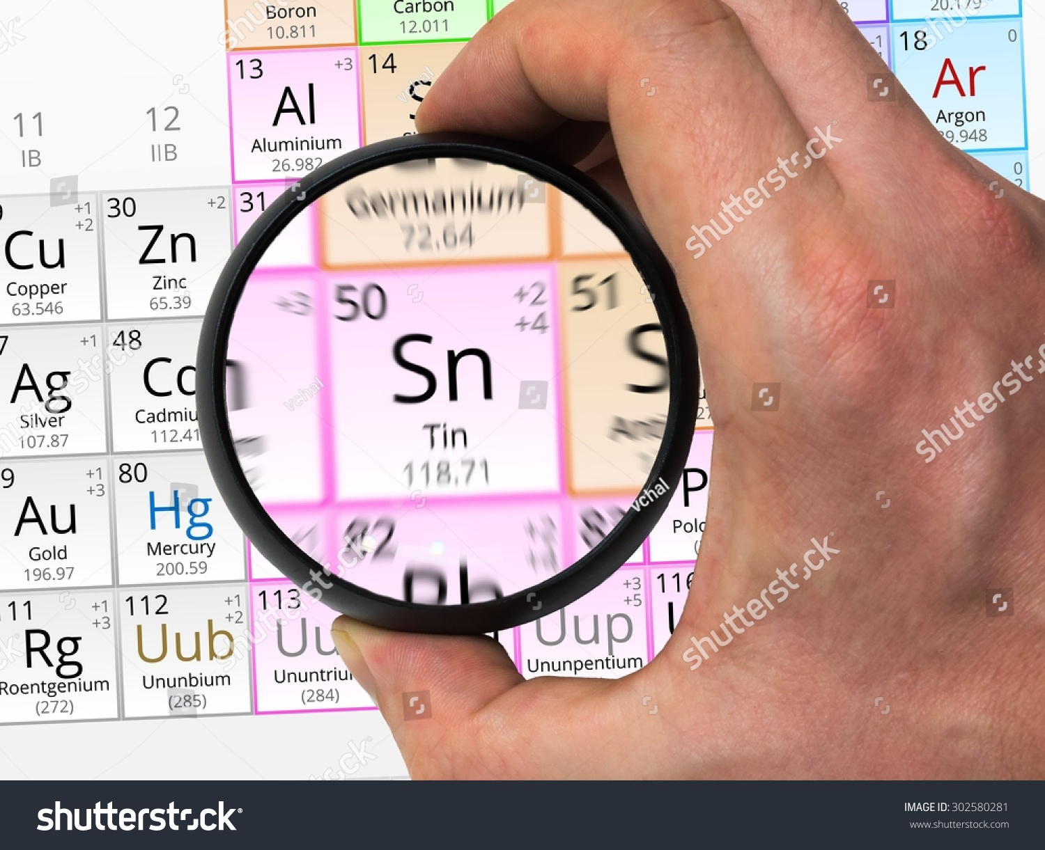 Tin symbol sn element periodic table stock photo 302580281 tin symbol sn element of the periodic table zoomed with magnifying glass biocorpaavc Image collections