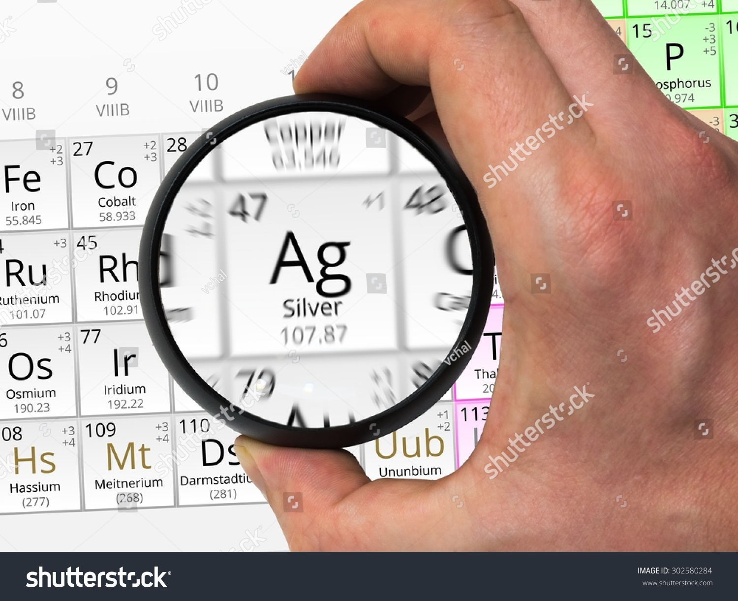 Silver symbol ag element periodic table stock photo 302580284 silver symbol ag element of the periodic table zoomed with magnifying glass gamestrikefo Images