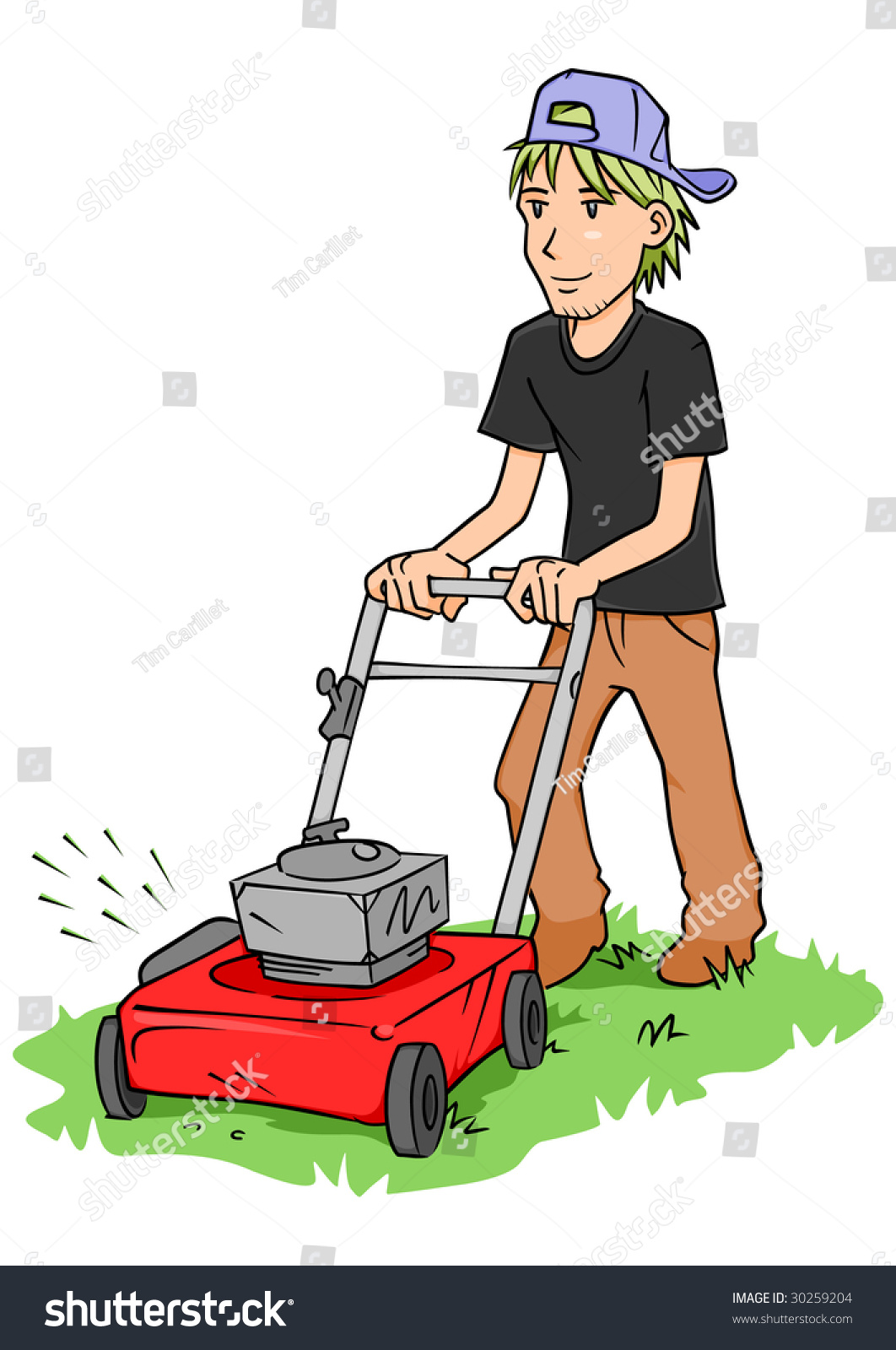 Young Man Cutting Grass Push Lawn Stock Illustration