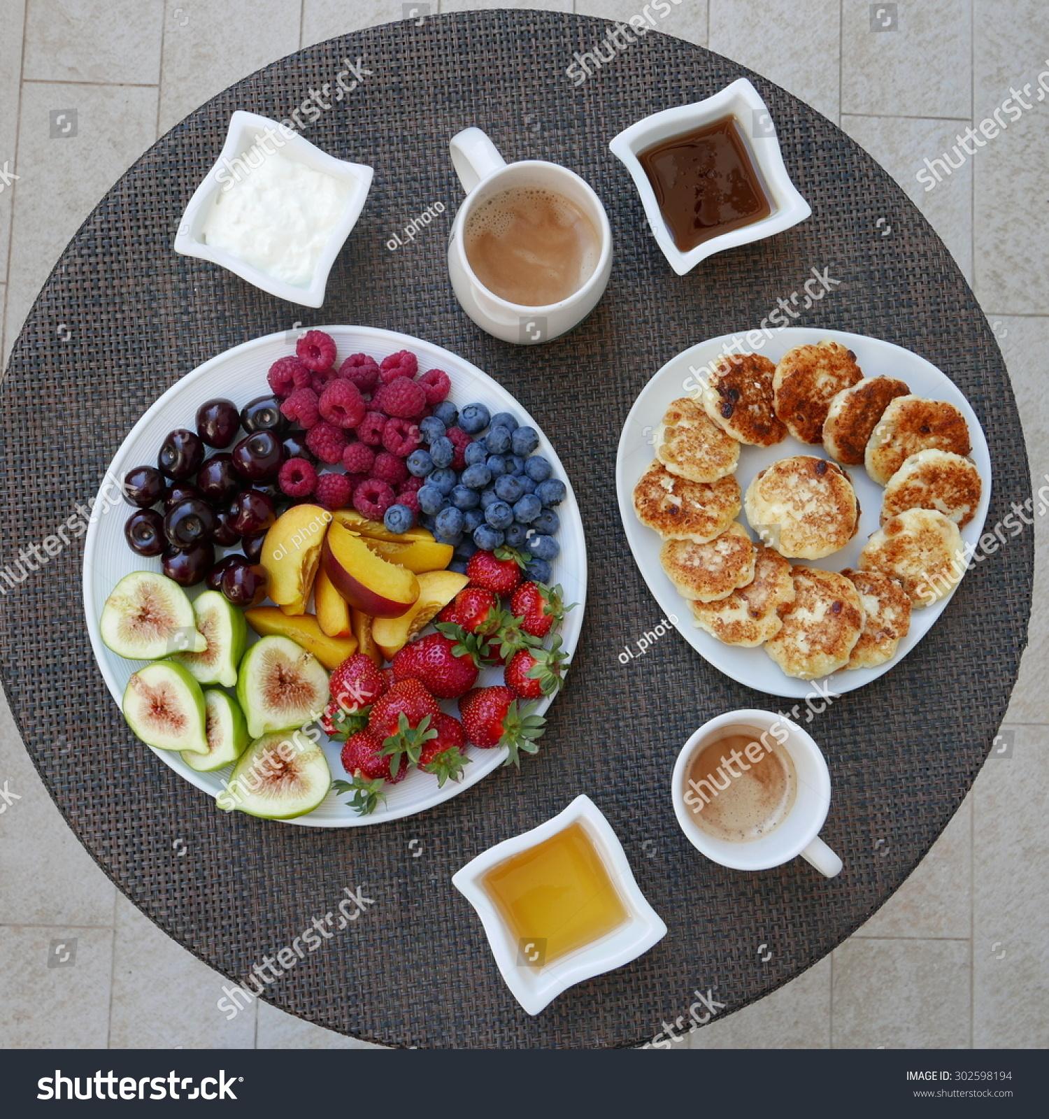 Breakfast Fruit Platter Pancakes Honey Coffee Stock Photo Edit Now 302598194