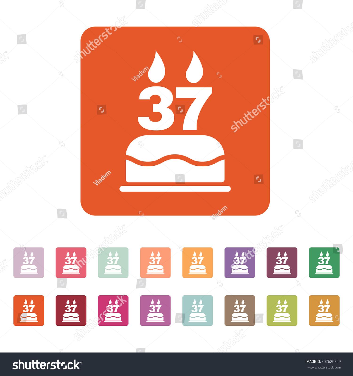 Birthday cake candles form number 37 stock vector 302620829 the birthday cake with candles in the form of number 37 icon birthday symbol biocorpaavc