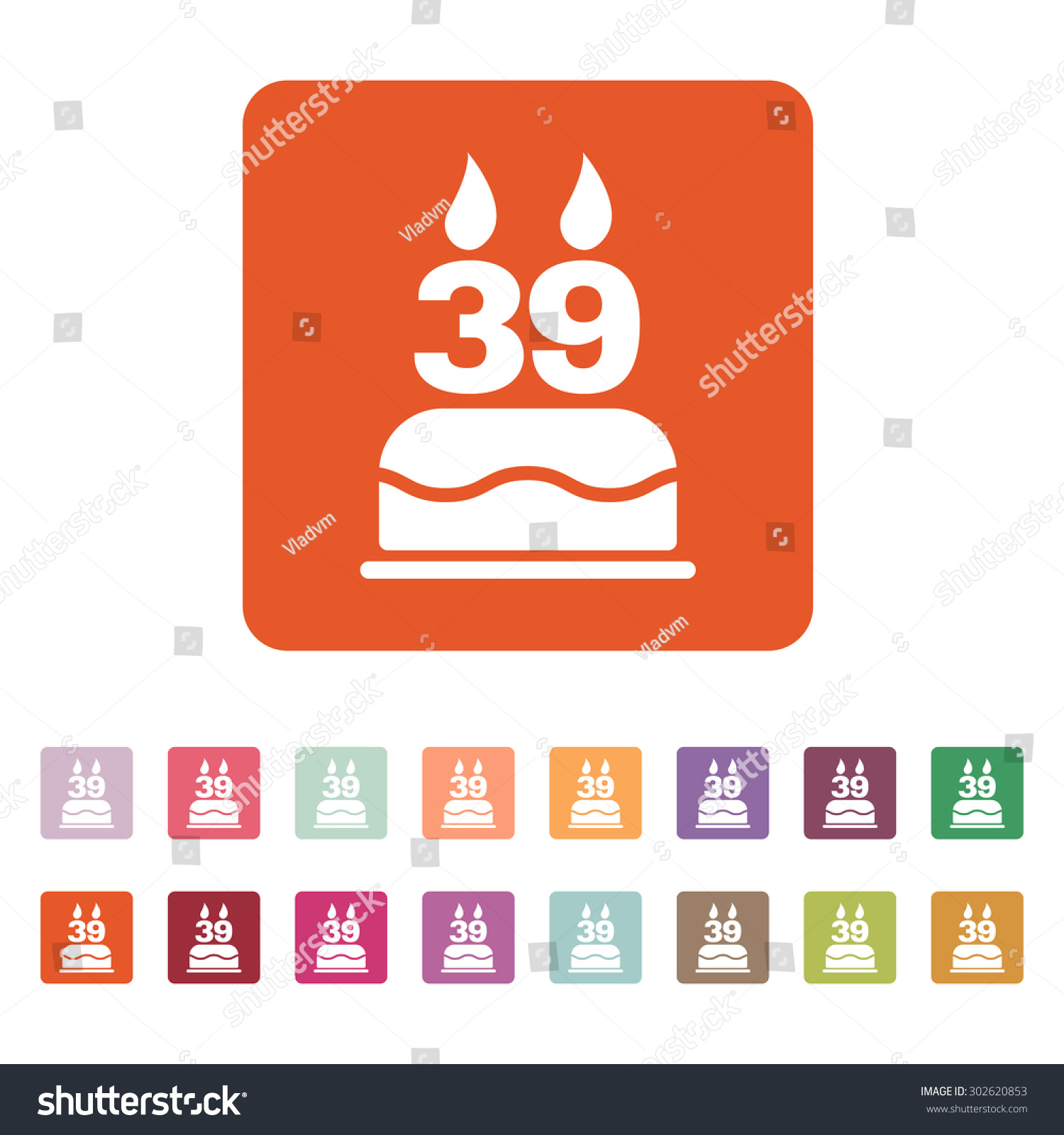 Birthday Cake Candles Form Number 39 Stock Vector Hd Royalty Free
