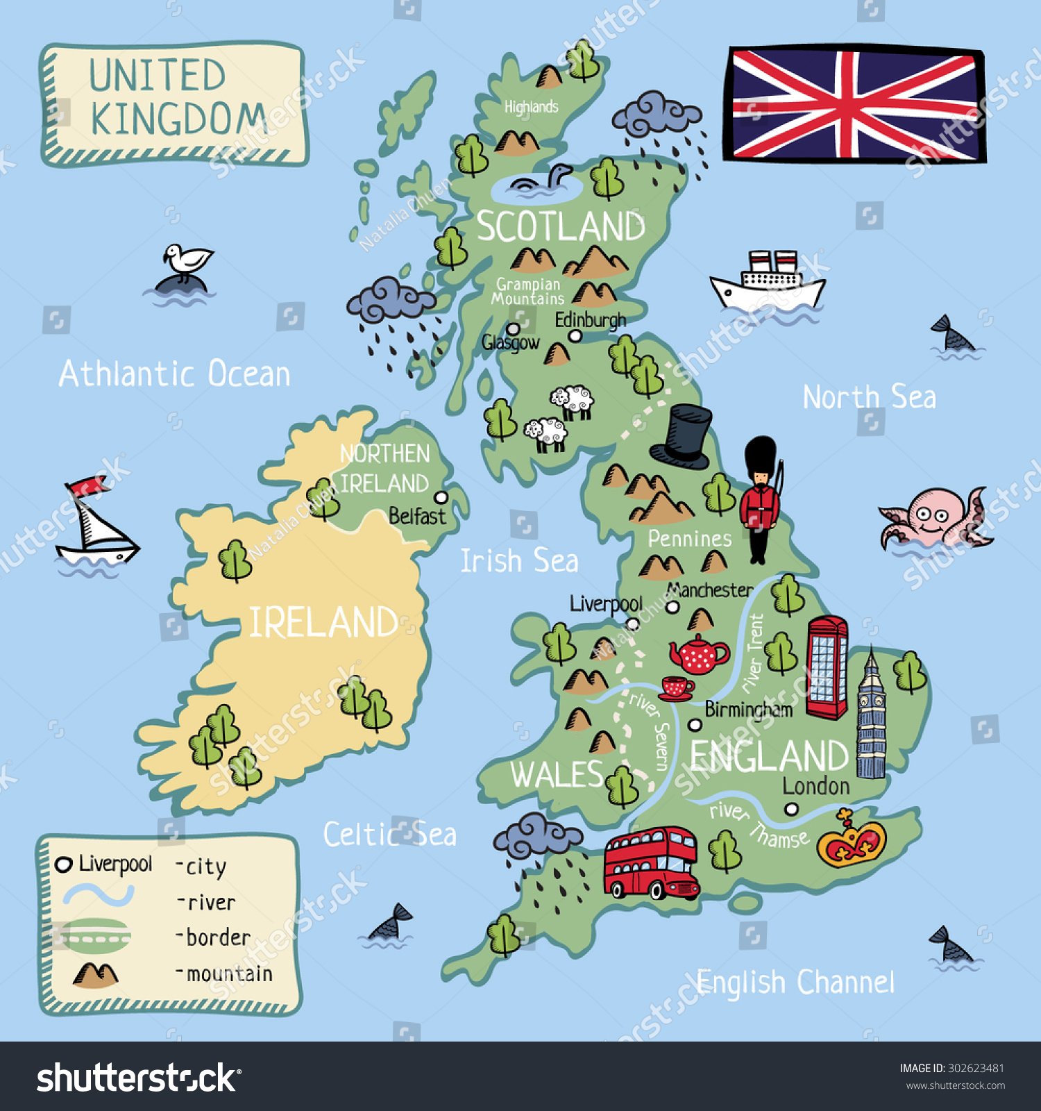 Cartoon Vector Map United Kingdom England Stock Vector - United kingdom map