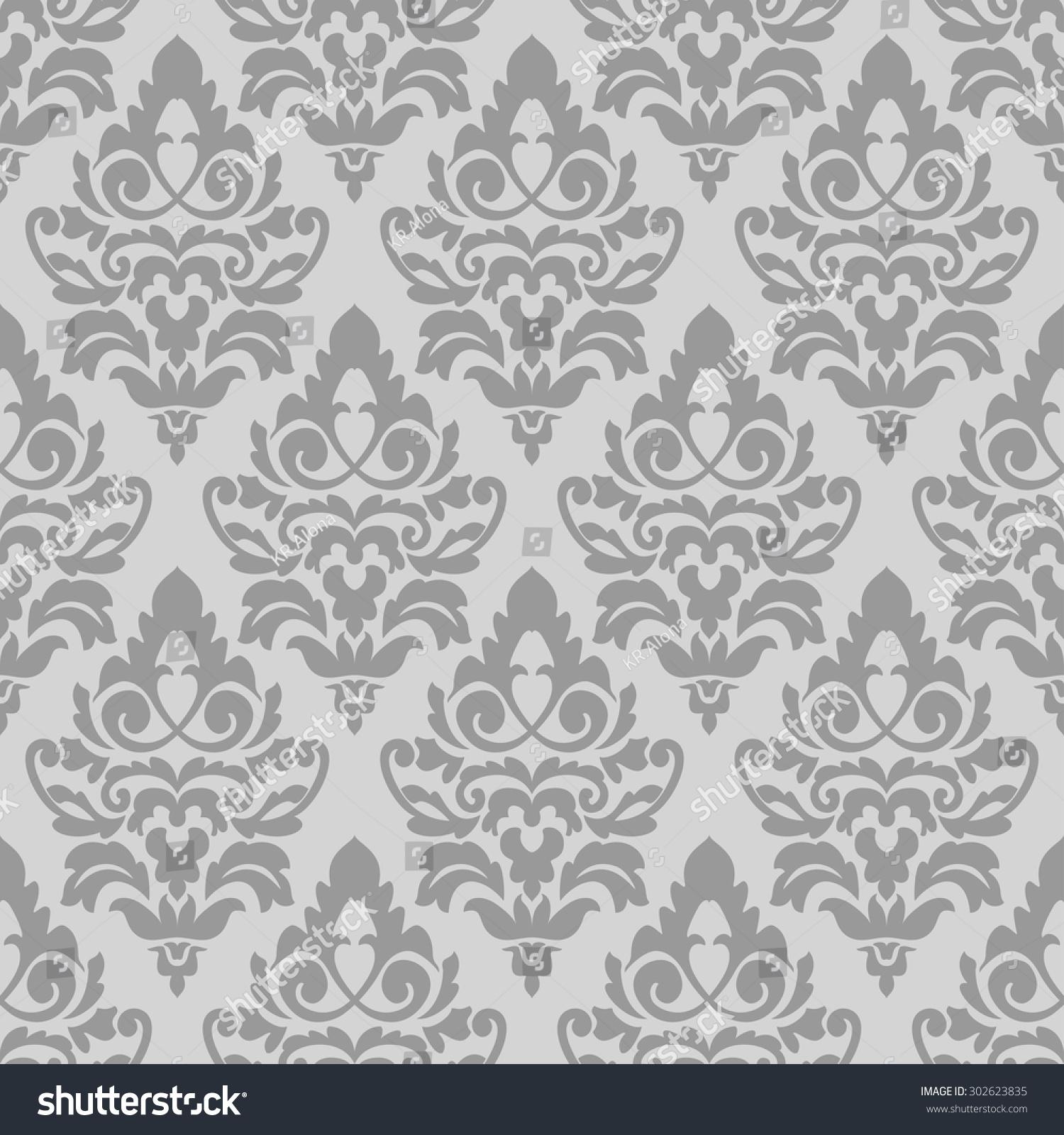 Elegant Grey Damask Wallpaper Vintage Pattern Stock Vector ...