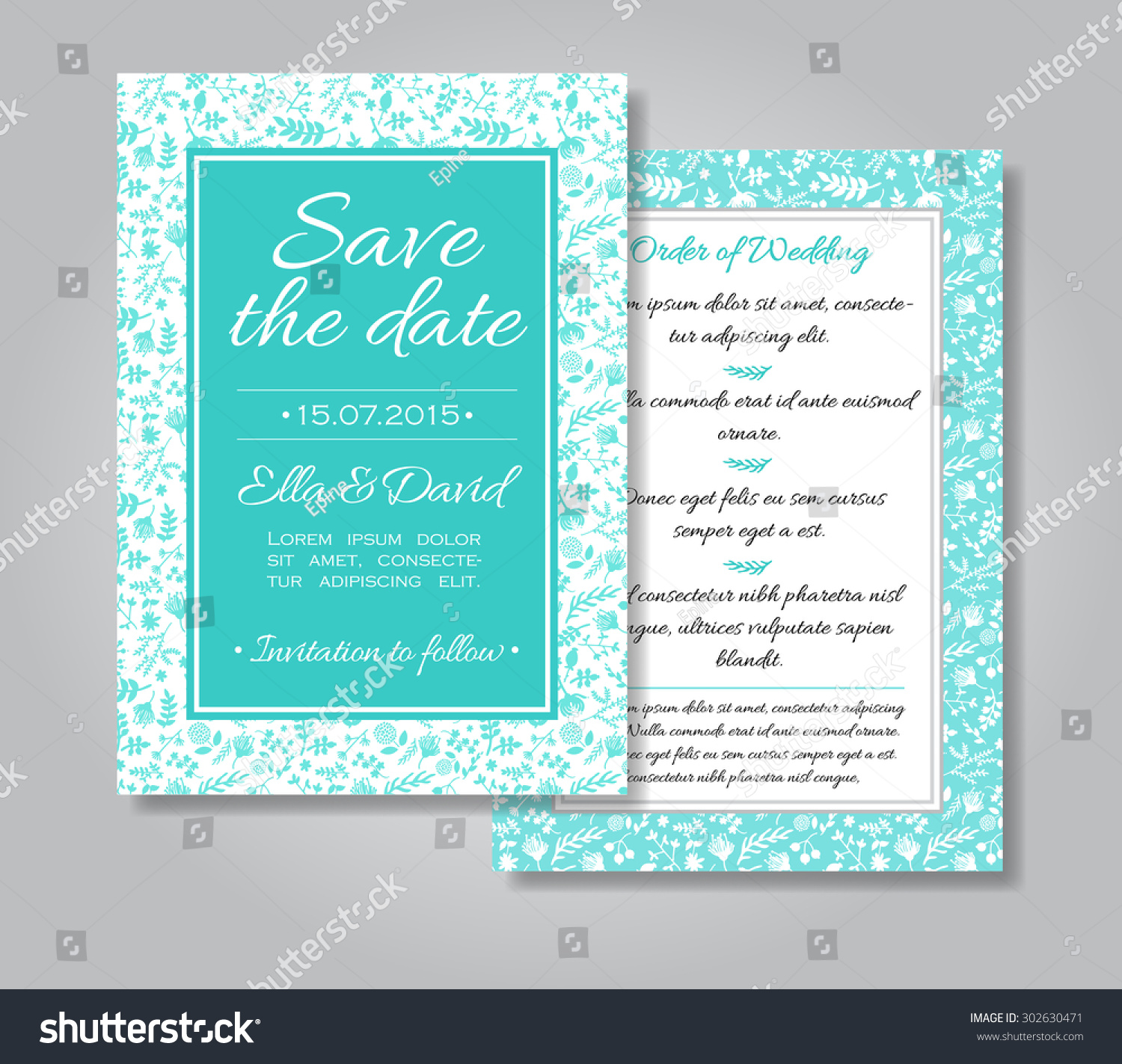 Vector wedding invitation card set with floral background in tiffany blue and white colors Template Wedding invitation or announcements Save the date and wedding order card