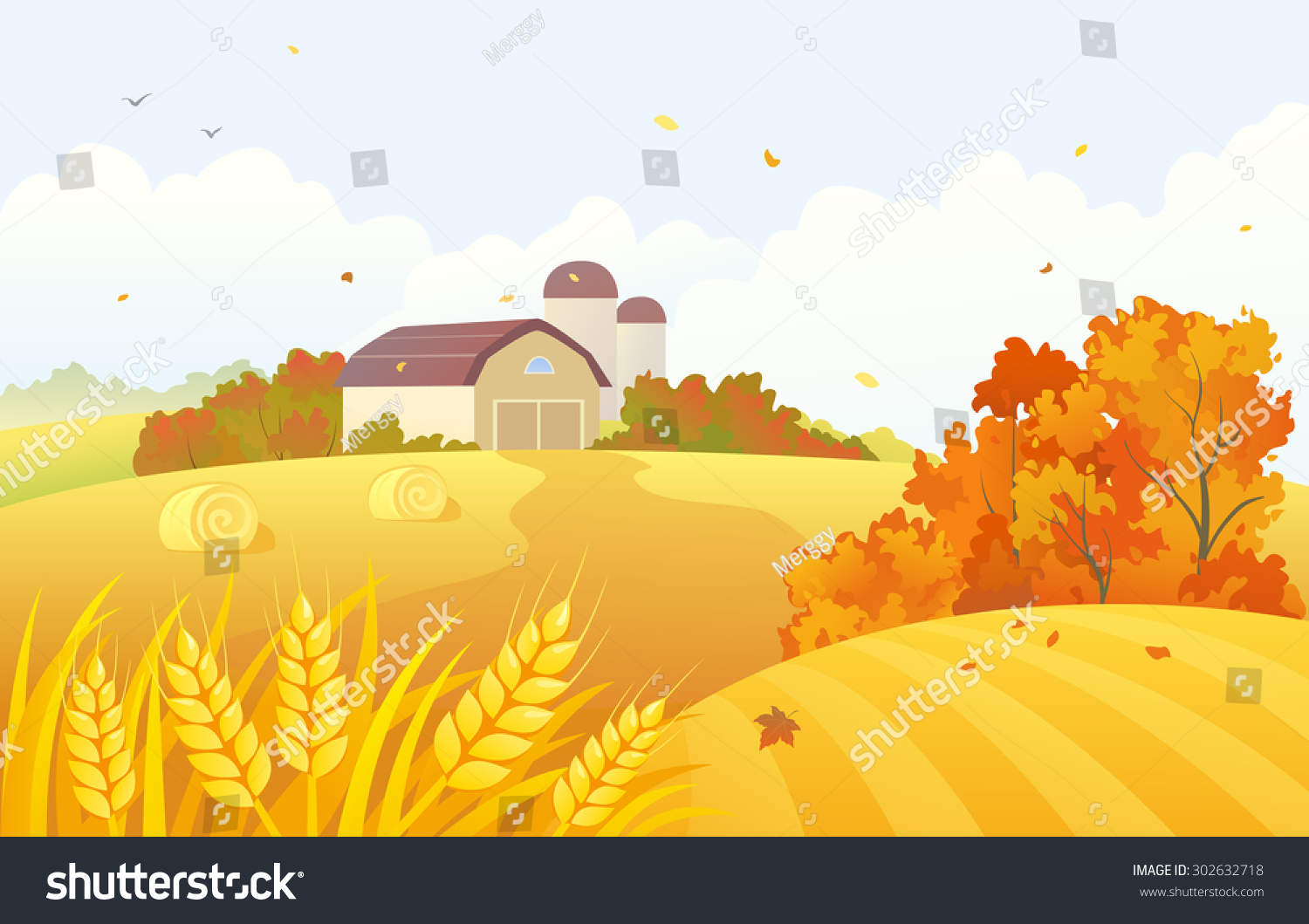 vector cartoon illustration beautiful fall farm stock Scarecrow Clip Art Farm Clip Art