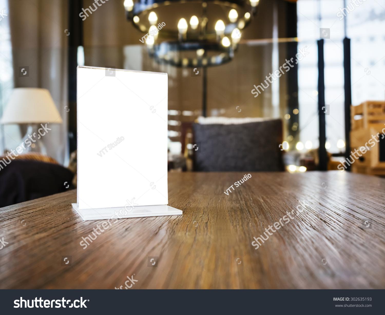mock menu frame on table restaurant stock photo 302635193