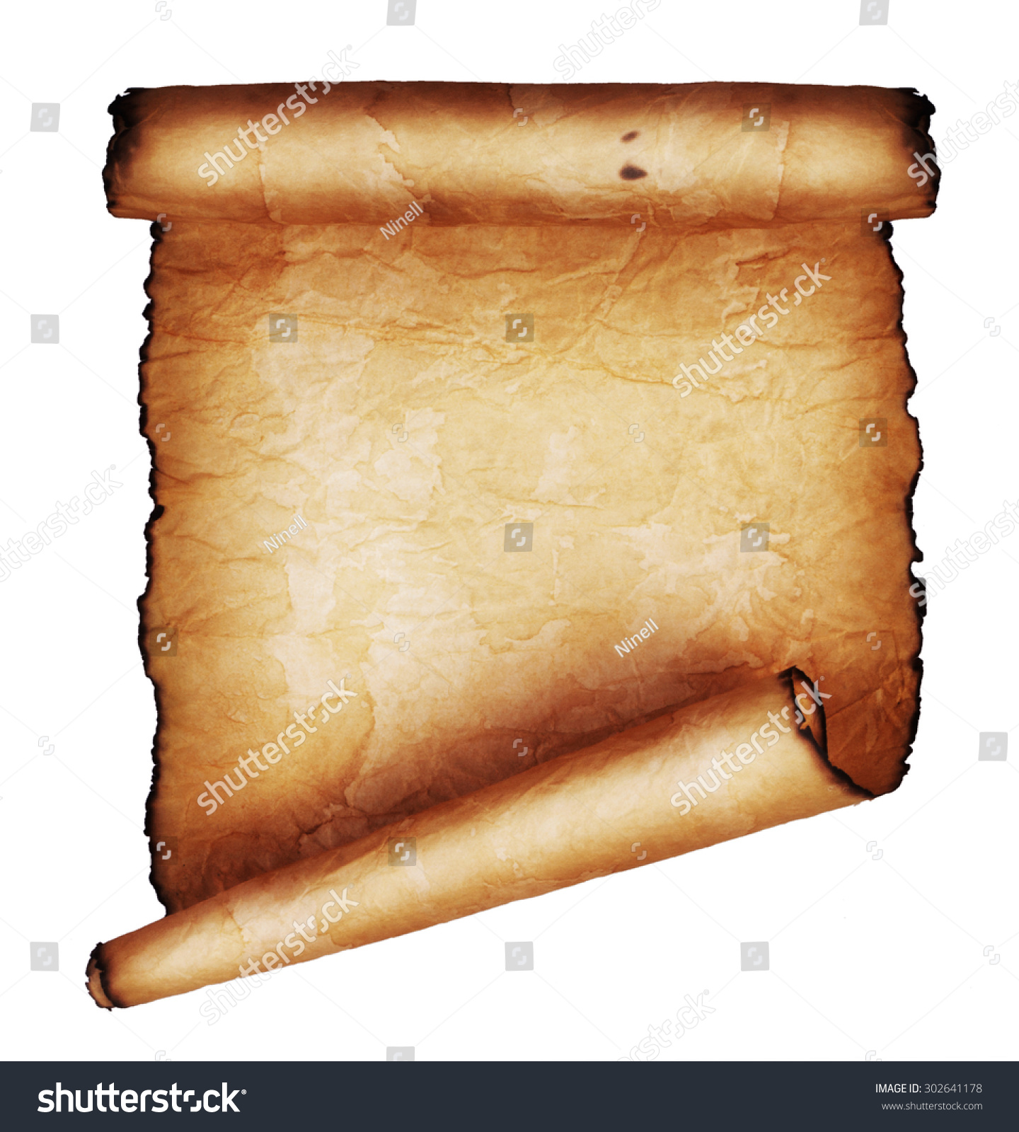 ancient scroll isolated on white background stock photo
