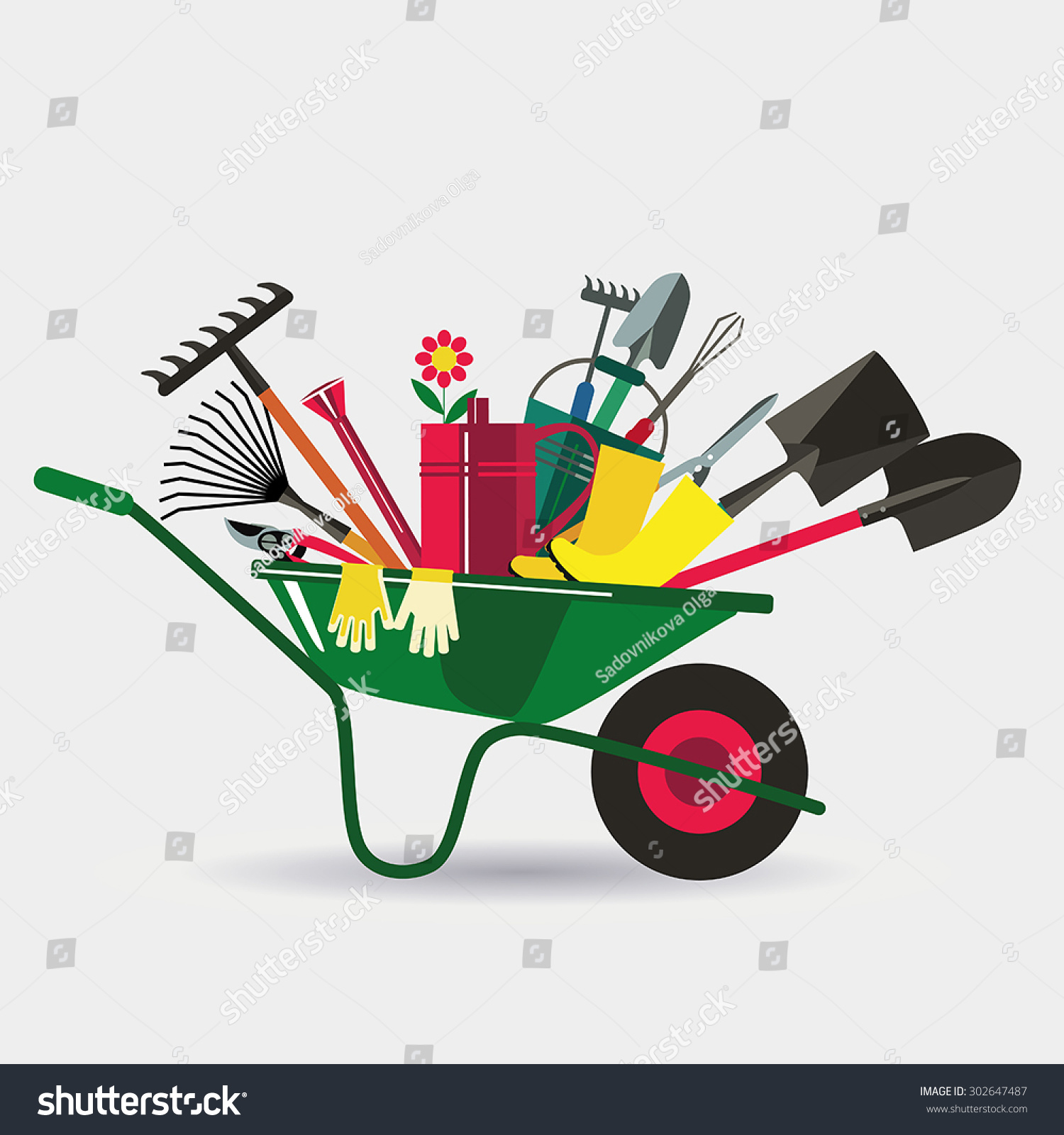 Organic farming wheelbarrow tools work garden stock vector for Gardening tools cartoon