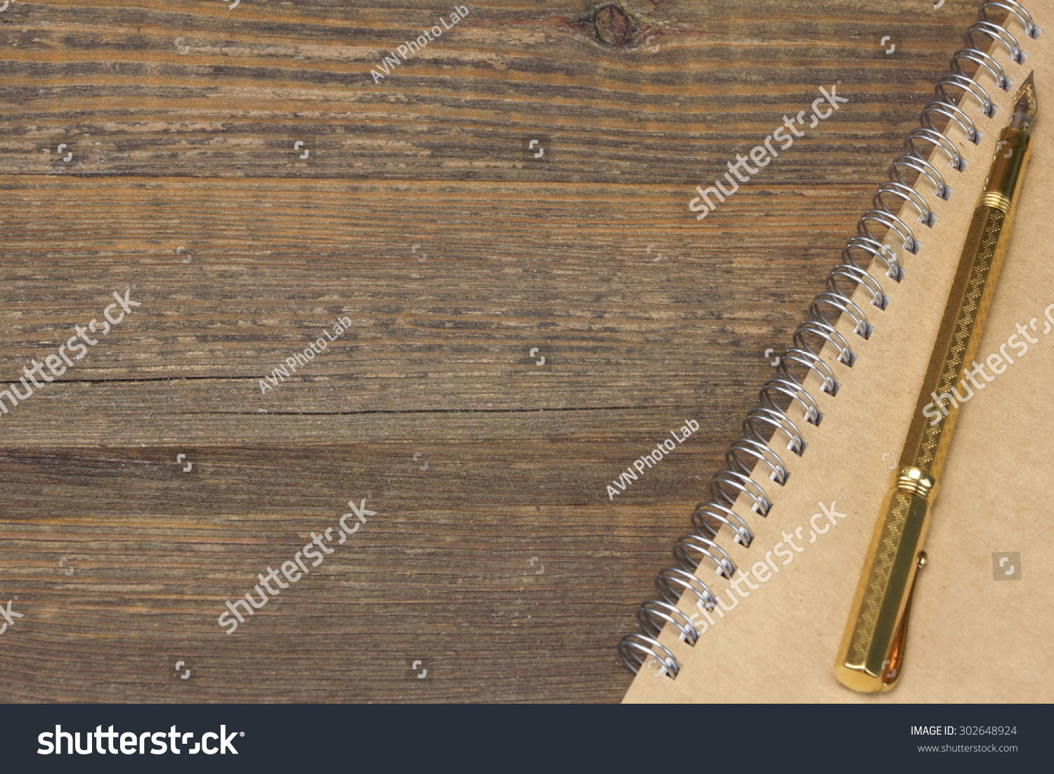 Notepad Real Gold Fountain Pen On Stock Photo (Edit Now