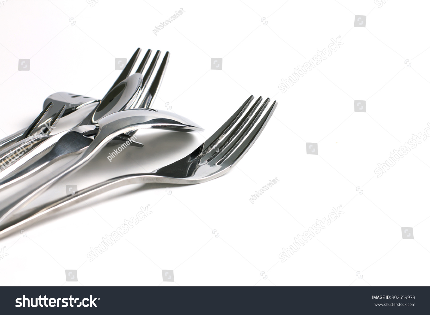 Close Up Dinning The Silverware Fork Spoon On White Background And