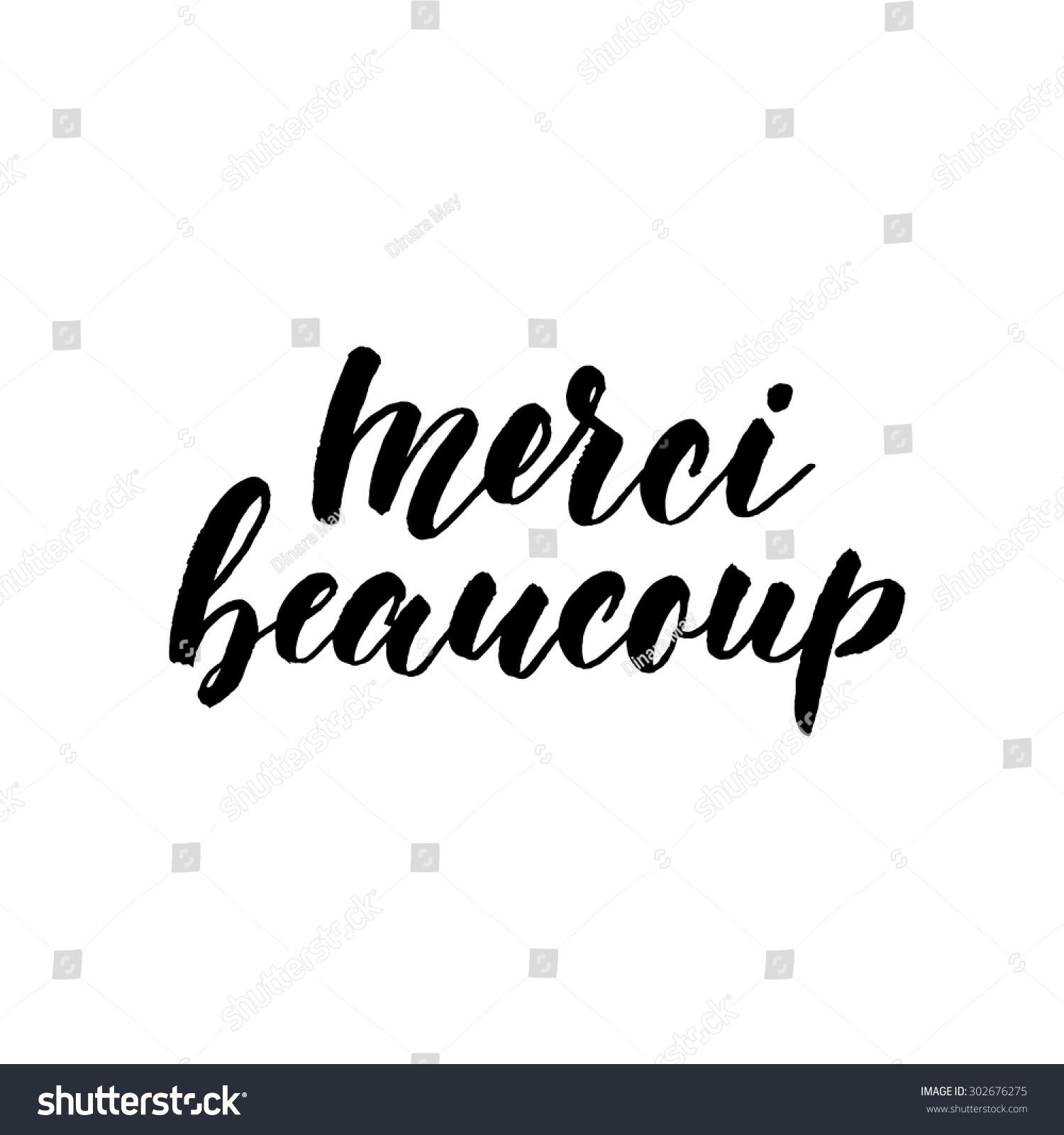 Merci Beaucoup Ink Hand Lettering Modern Stock Vector