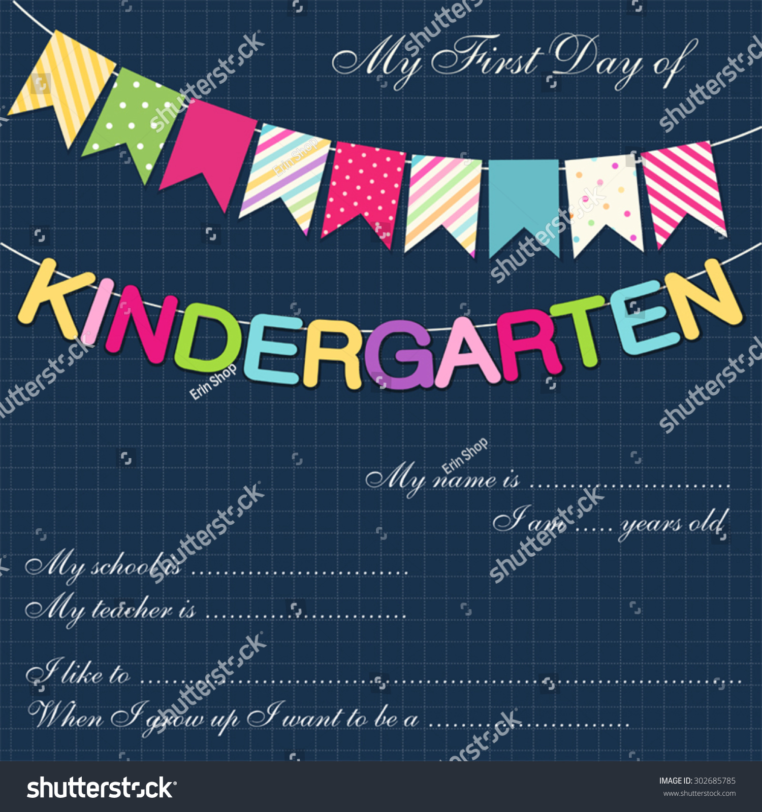 cute first day kindergarten interview card stock vector  cute first day of kindergarten interview card bright festive buntings
