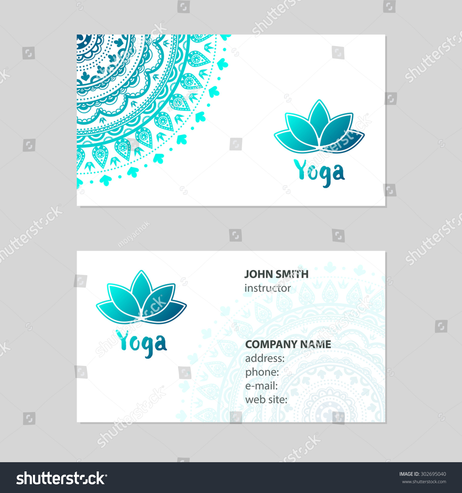 Business Card Yoga Stock Vector 302695040 - Shutterstock