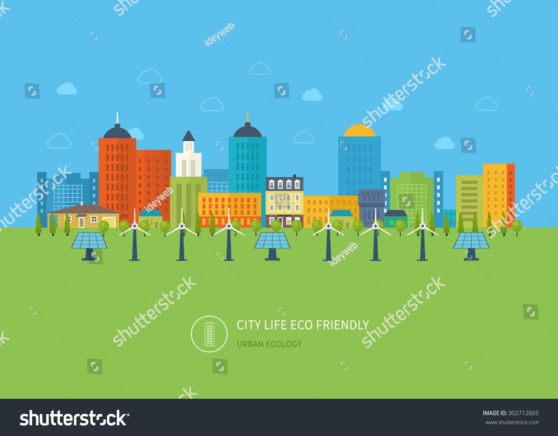 Скачать Eco Technology Flat Icons: Urban Landscape Flat Design Vector Concept Stock Vector