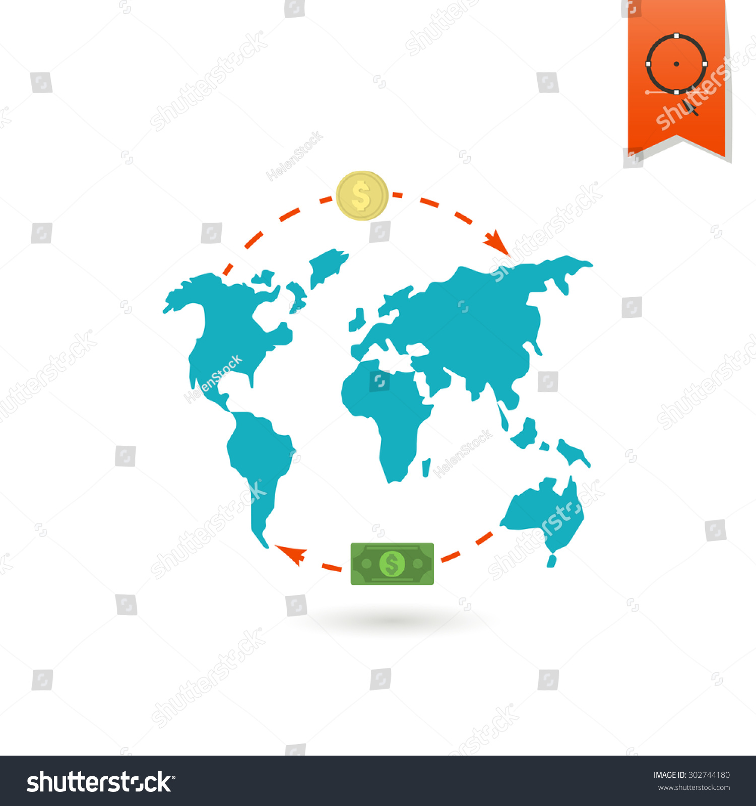 World map money business finance single stock vector 302744180 world map and money business and finance single flat icon simple and minimalistic gumiabroncs Gallery