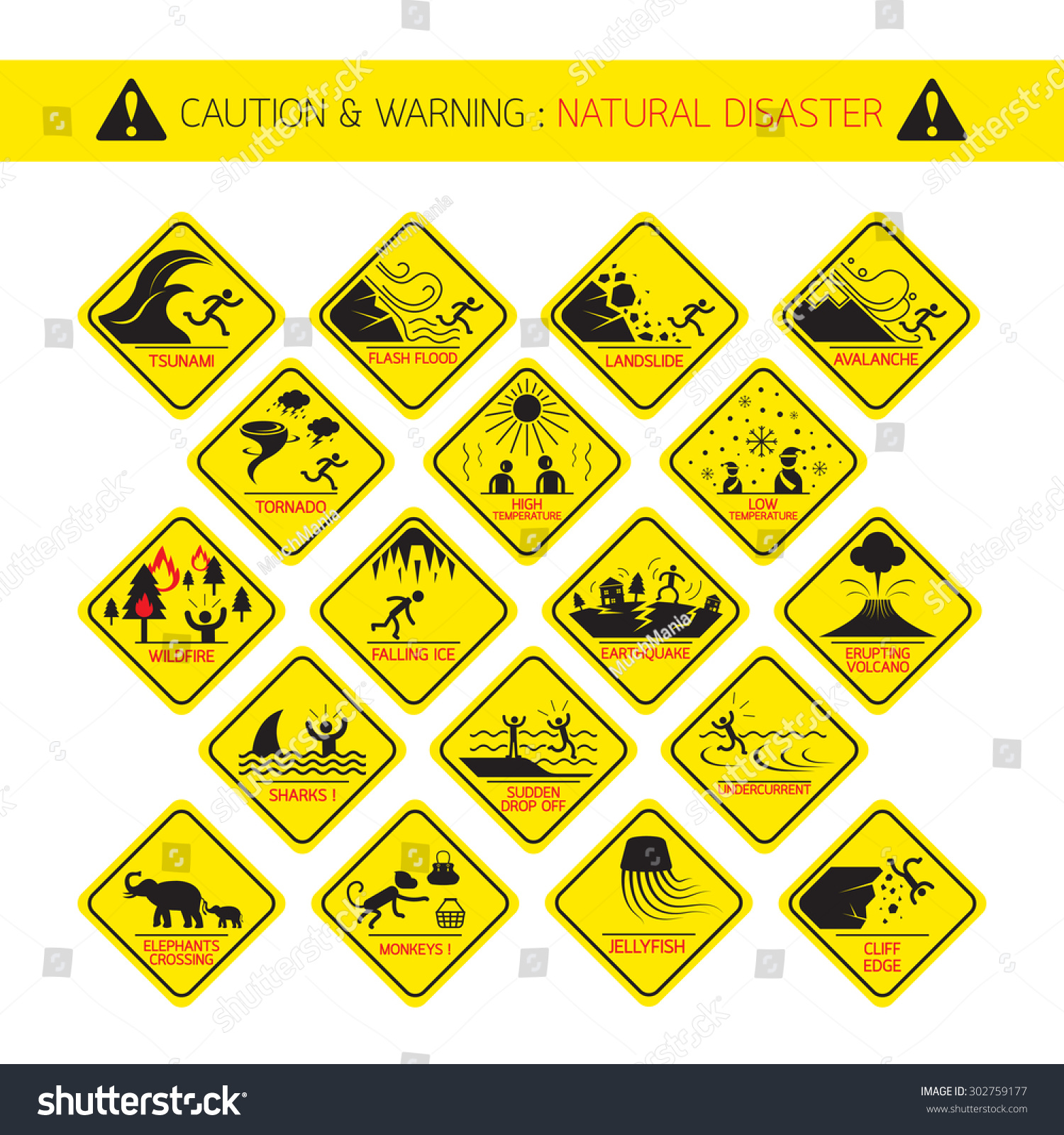 Natural Disaster Warning Signs Caution Danger Stock Vector Royalty