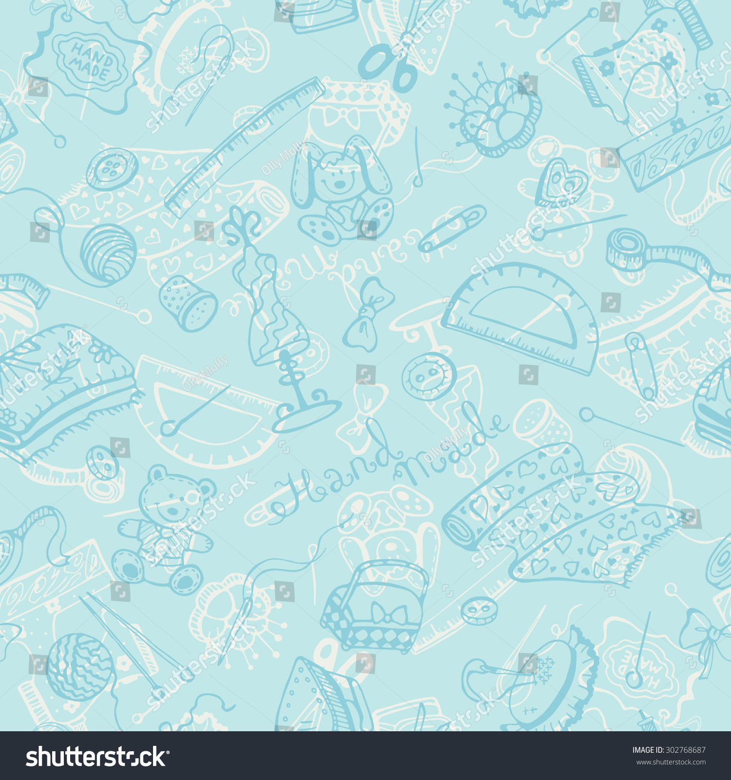 Handmade Items Background Craft Tools Seamless Stock Vector Royalty