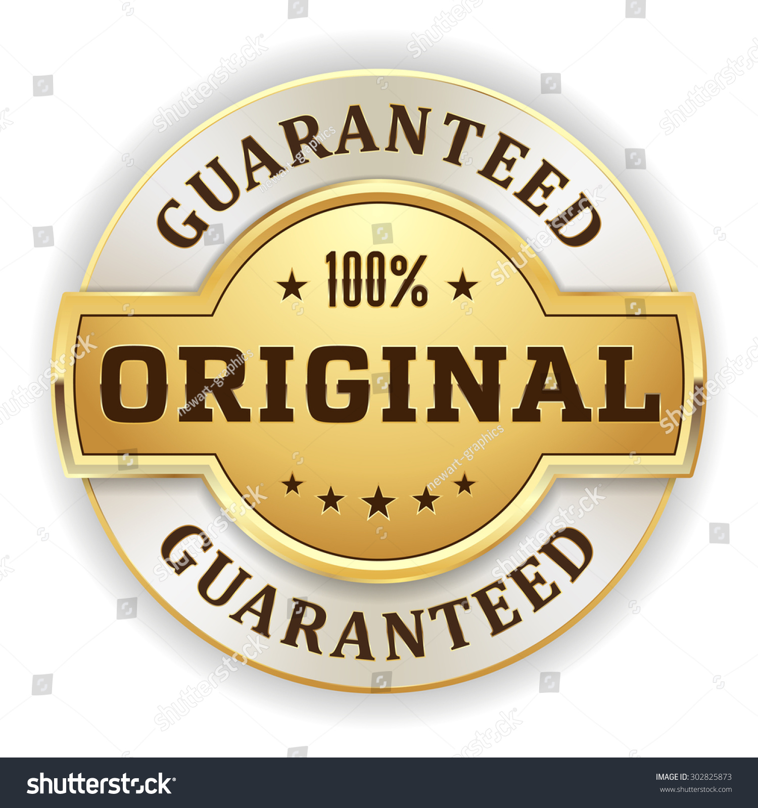 Gold 100 Percent Original Badge On Stock Vector 302825873