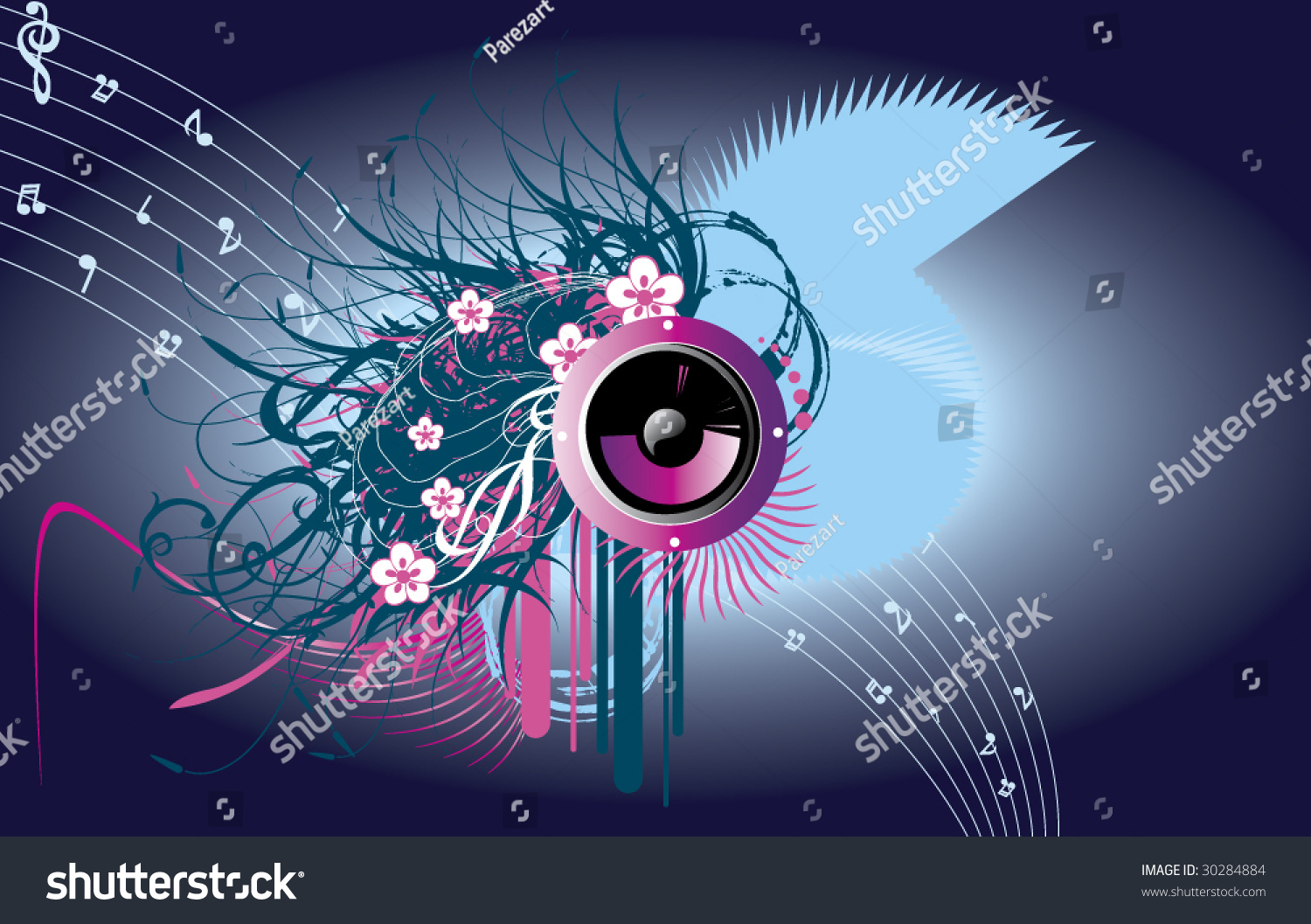 Music Eye Wallpaper Stock Vector Royalty Free 30284884 Shutterstock