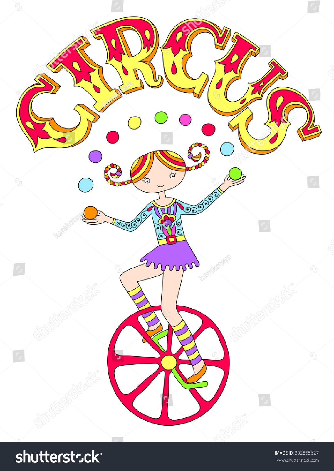 Line Art Unicycle : Line art drawing of circus theme teenage girl juggler on