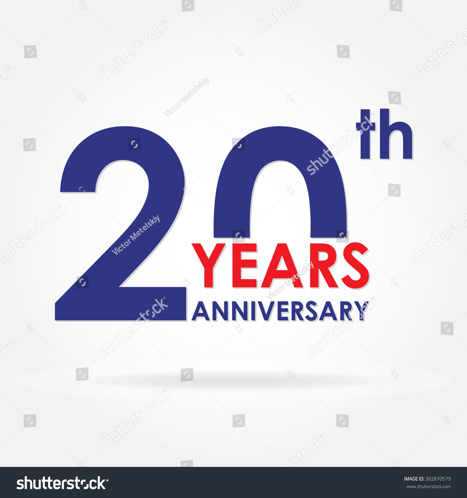 20 Years Anniversary Sign Emblem Template Stock Vector 302870579