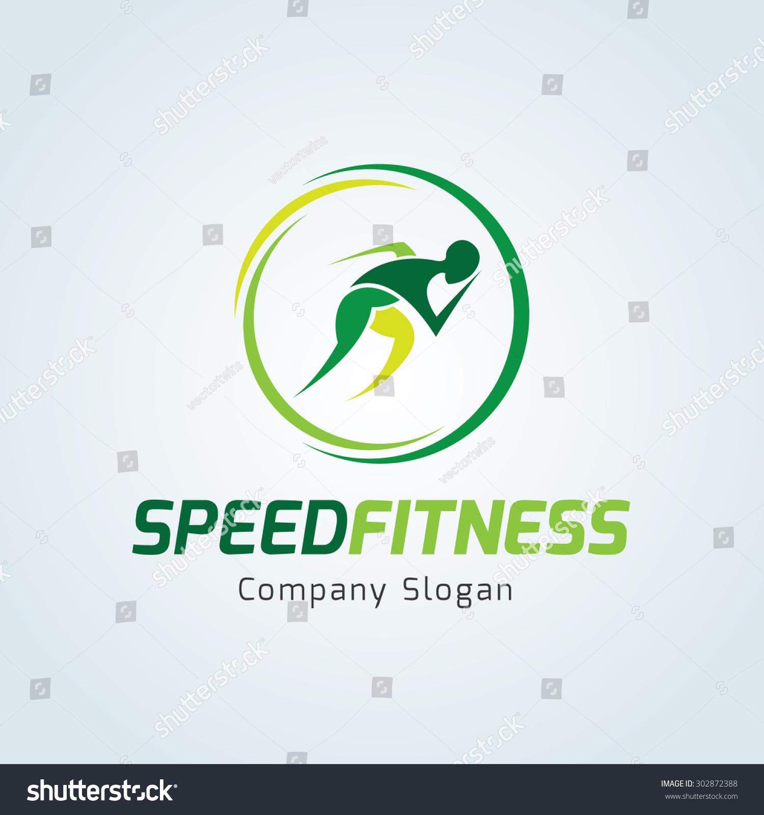 Speed fitness,running logo,sports logo,vector logo design