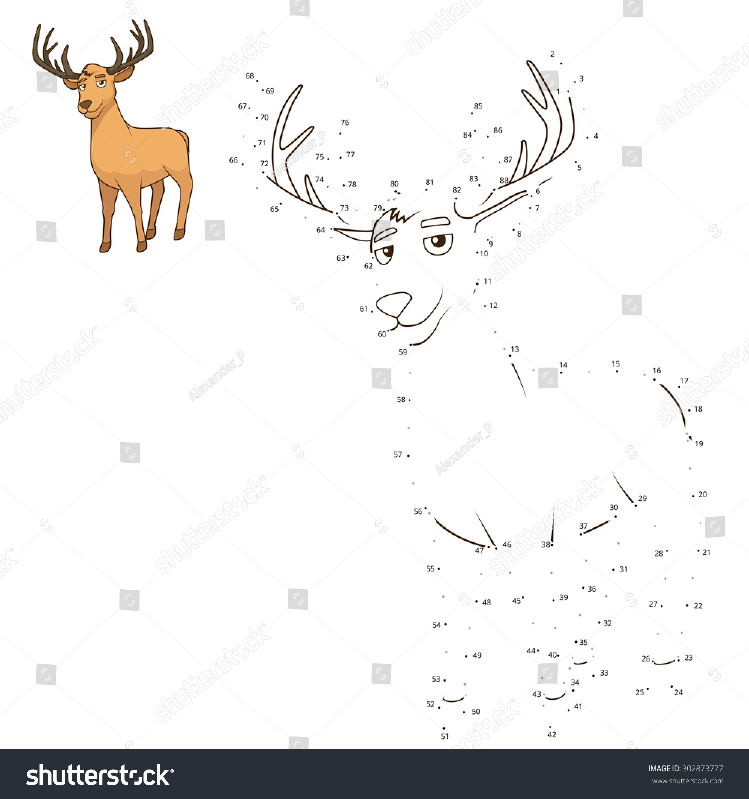 connect dots draw animal educational game stock vector 302873777