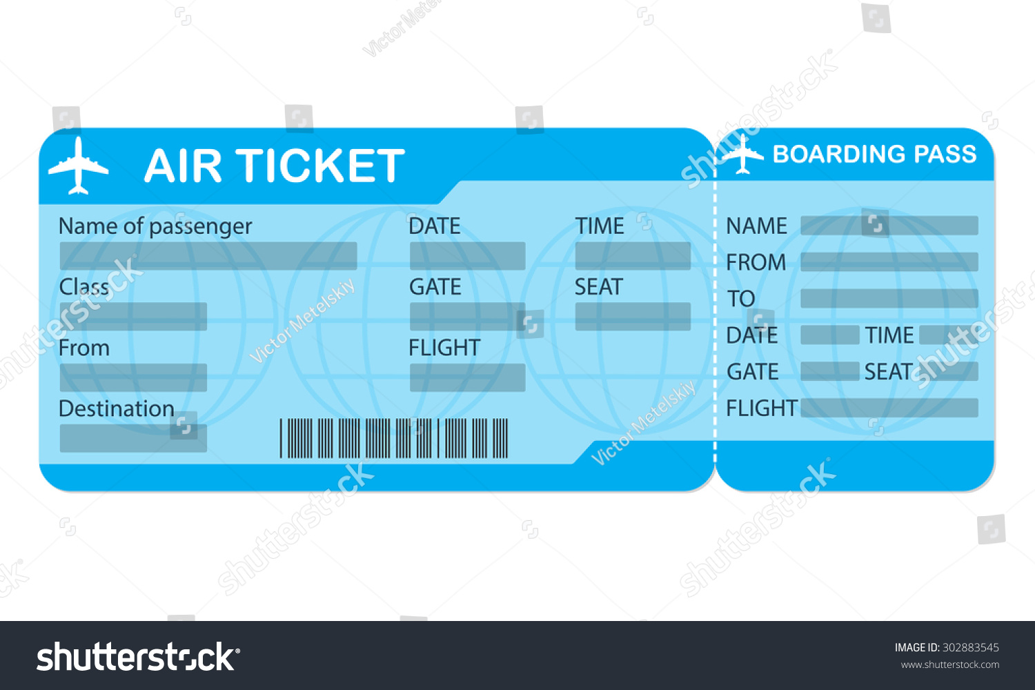 Doc1300740 Plane Ticket Template Blank Airline Boarding Pass – Plane Ticket Template