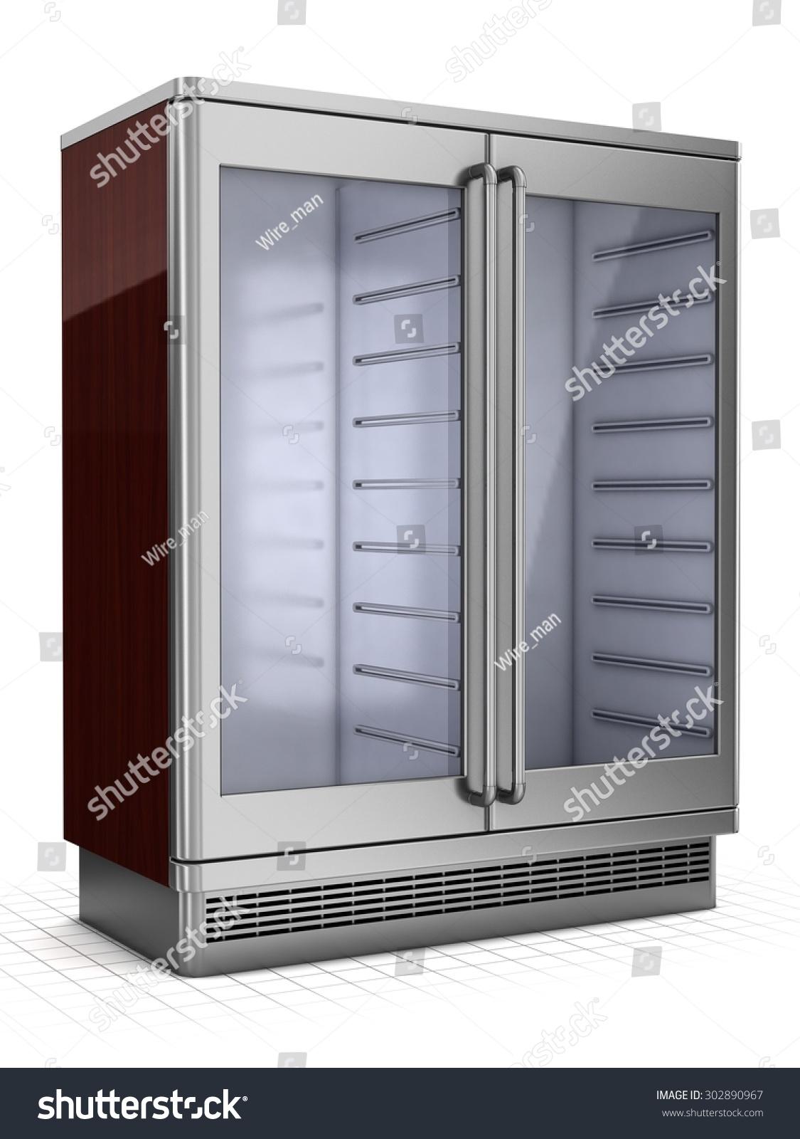 Double Refrigerated Showcase Glass Doors Isolated Stock Illustration