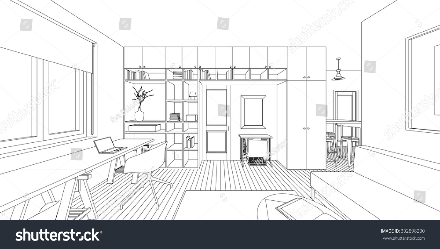 Interior Design Sketches Living Room outline sketch interior living room stock vector 302898200