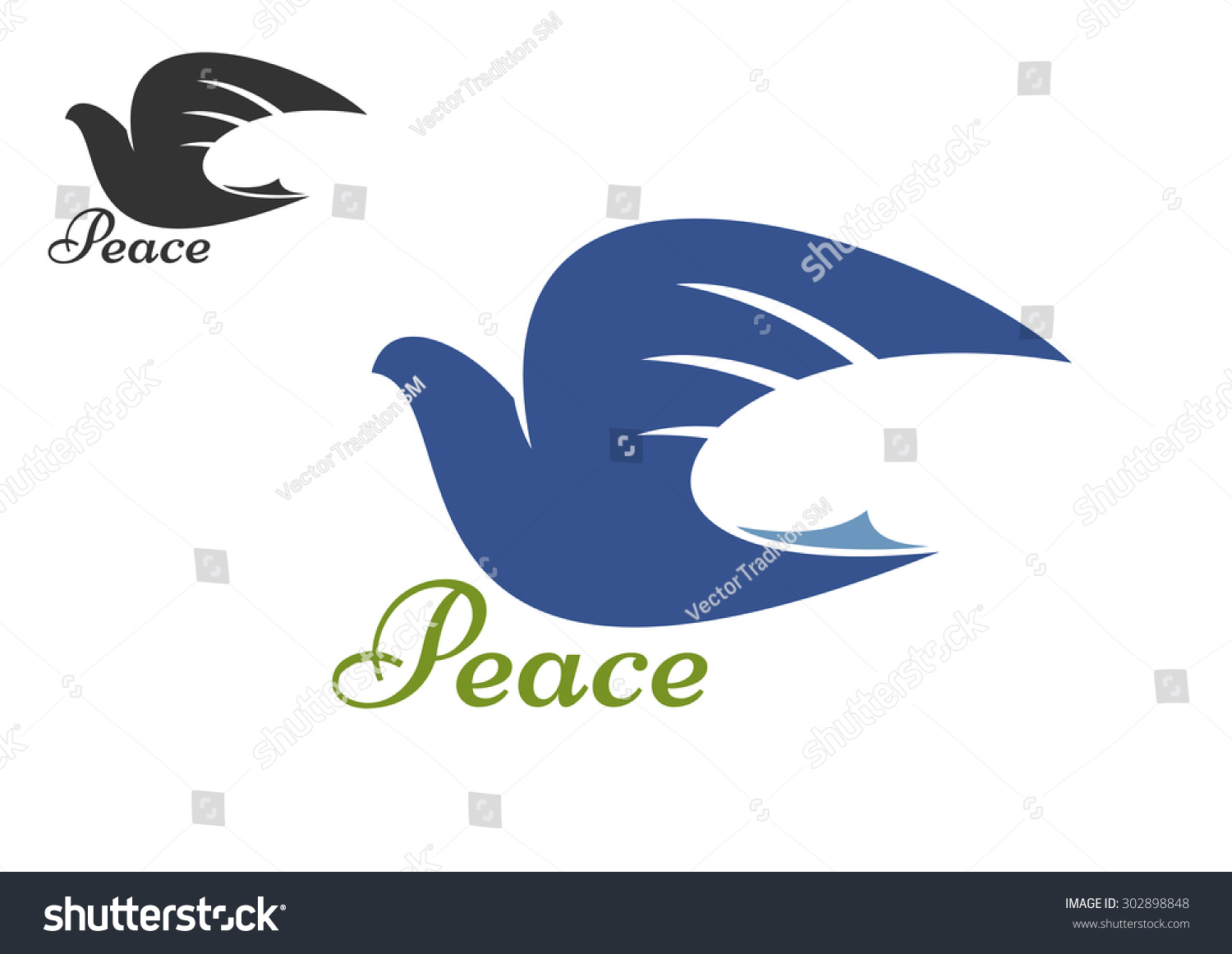 Dove Bird Blue Silhouette Symbol Peace Stock Vector Royalty Free