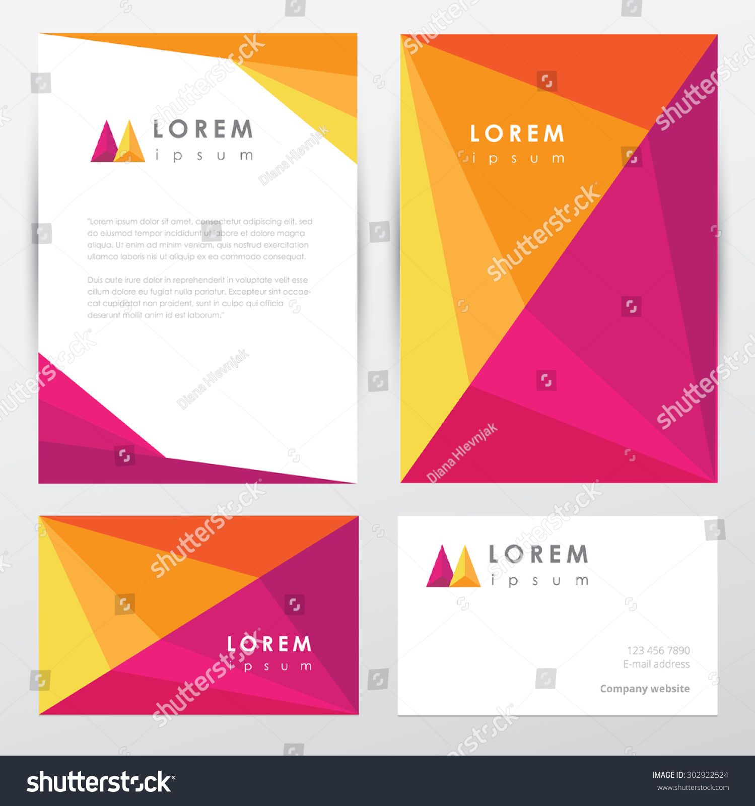 colorful corporate identity letterhead business card stock vector