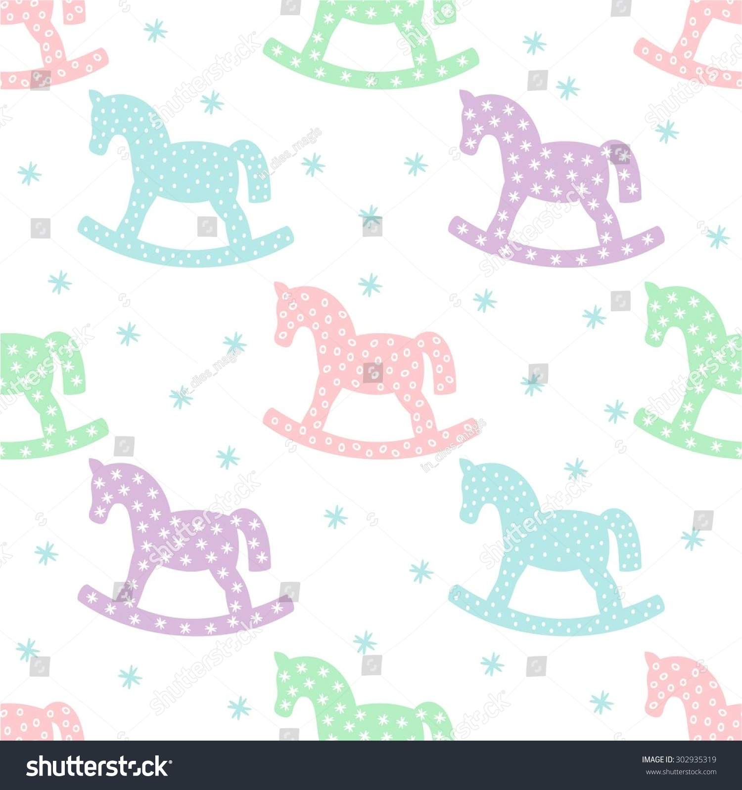 Seamless Pattern Rocking Horses Cute Baby Stock Vector