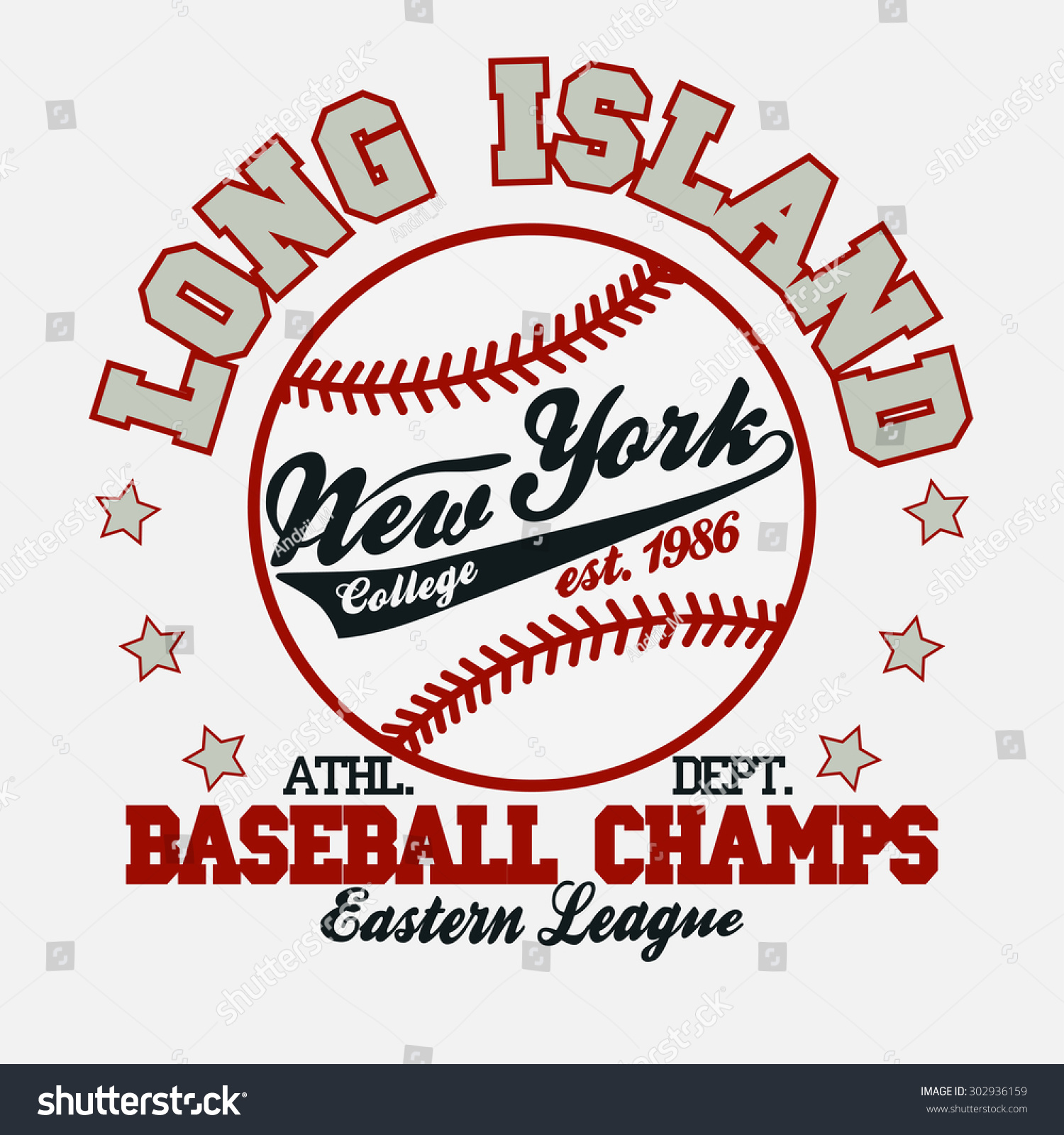 Baseball Fashion Typography Graphics New York Stock Vector