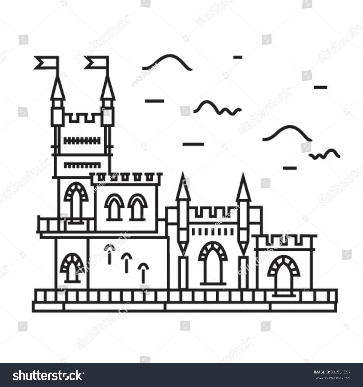 Outline Vector Ancient Castle Stock Vector 302951597