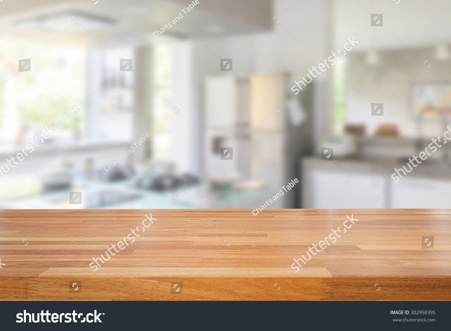 Empty wood table and blurred living room background stock photo - Empty Wooden Table And Blurred Kitchen Background Product Montage Display