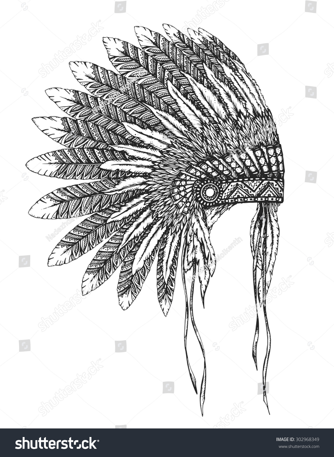 Native american indian headdress feathers sketch stock vector native american indian headdress with feathers in a sketch style hand drawn vector illustration buycottarizona