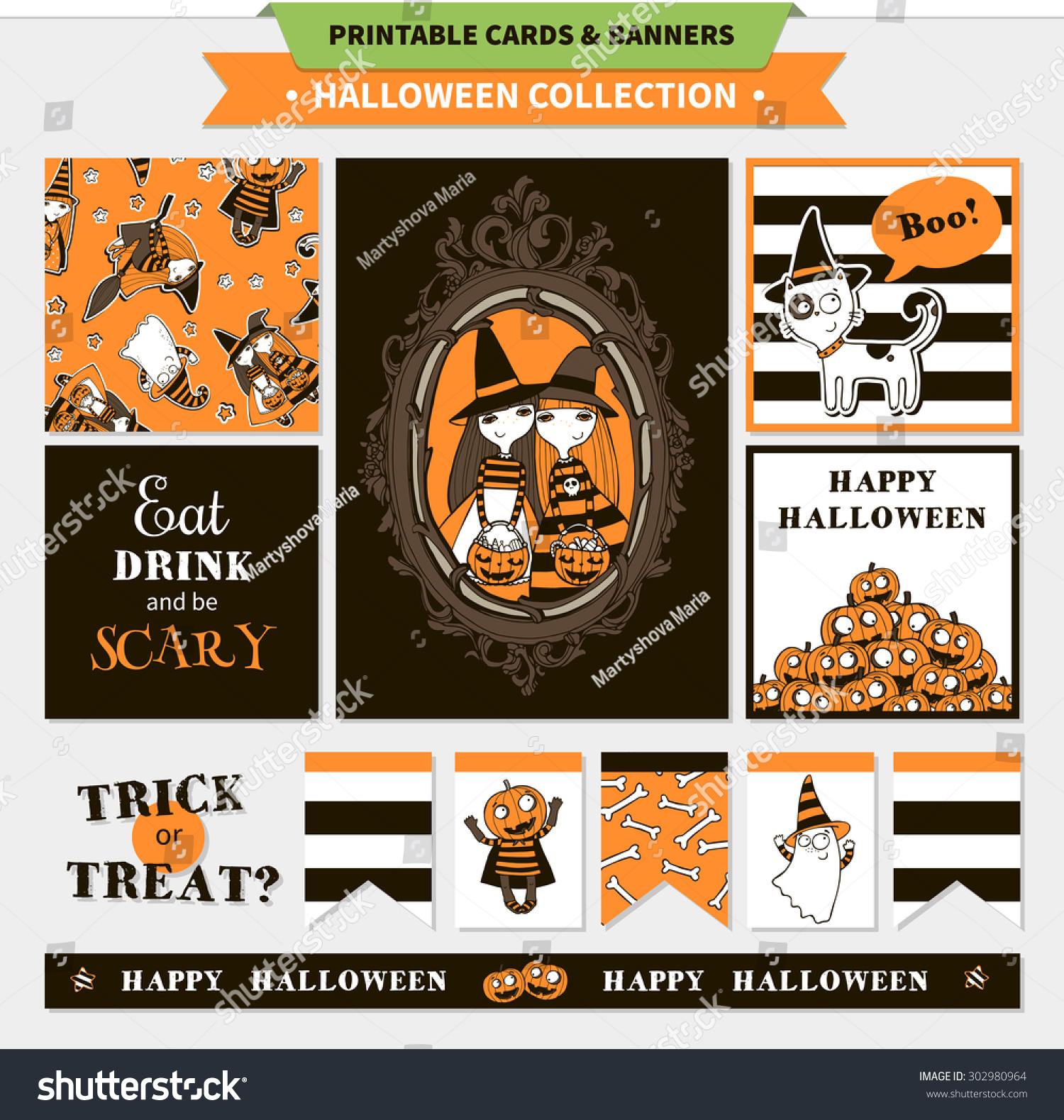 photo relating to Printable Halloween Banners named Halloween Printable Vector Playing cards Banners Cartoon Inventory