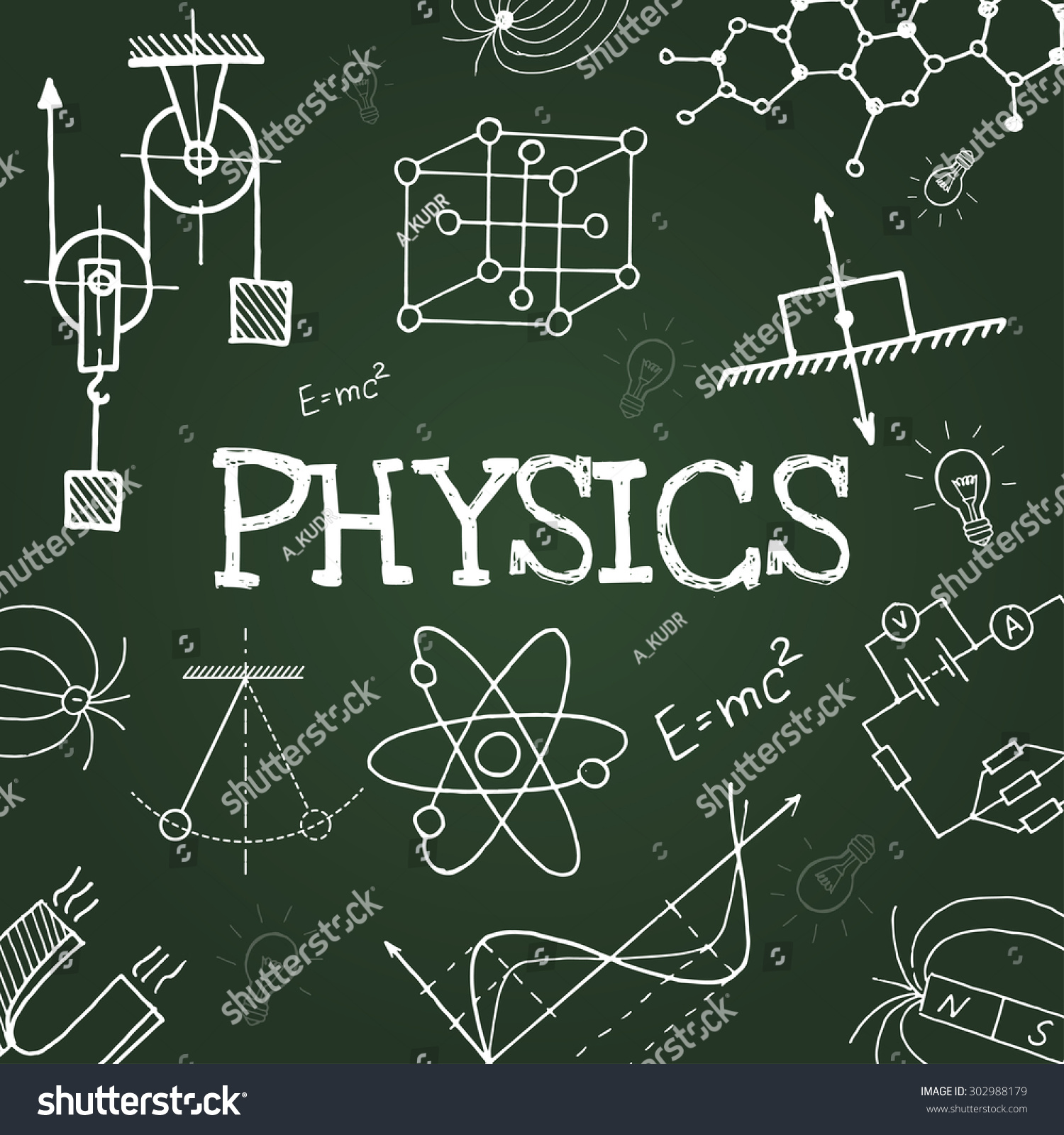 Vector Chalk Draw Physics Elements On Green Background ...