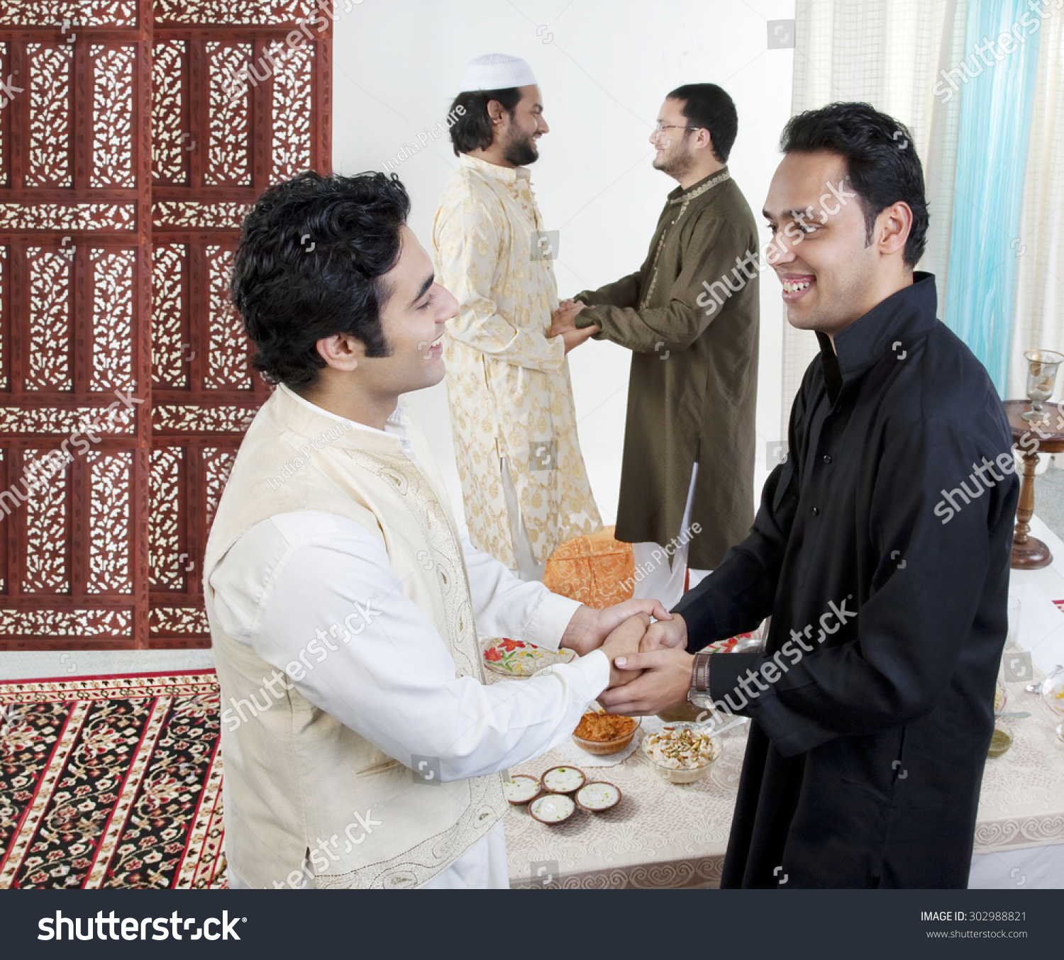 Muslim Men Greeting Each Other Stock Photo Edit Now 302988821