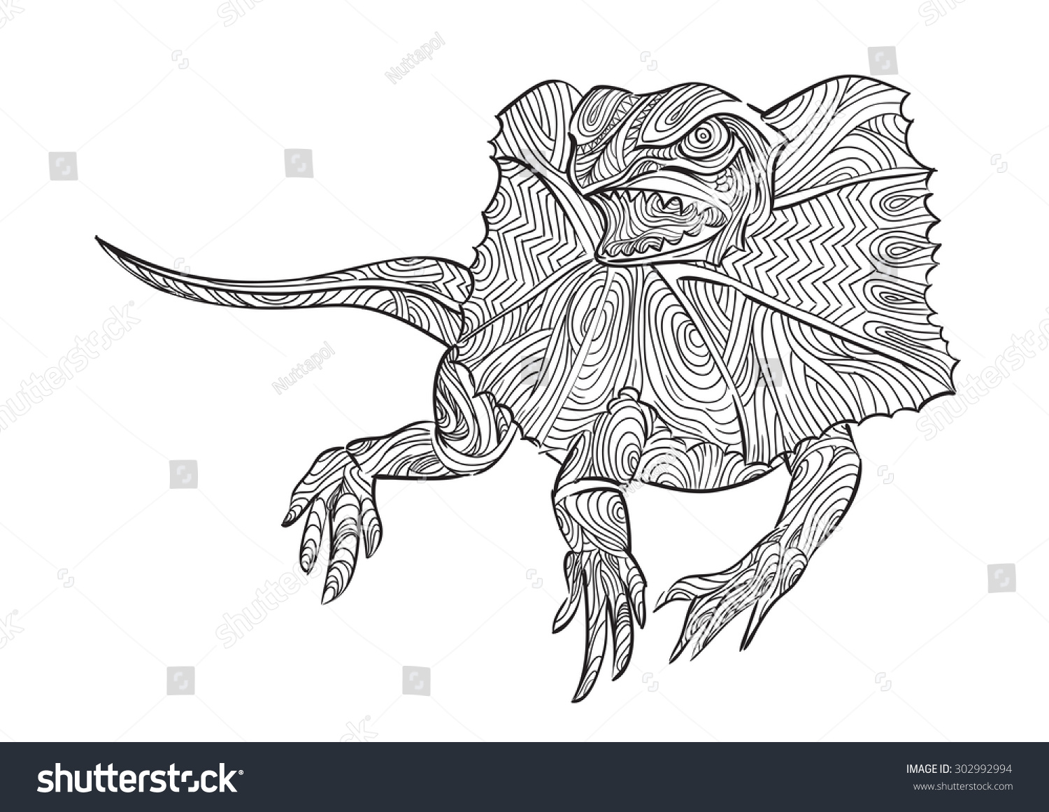 hand draw of frilled lizard in zentangle style