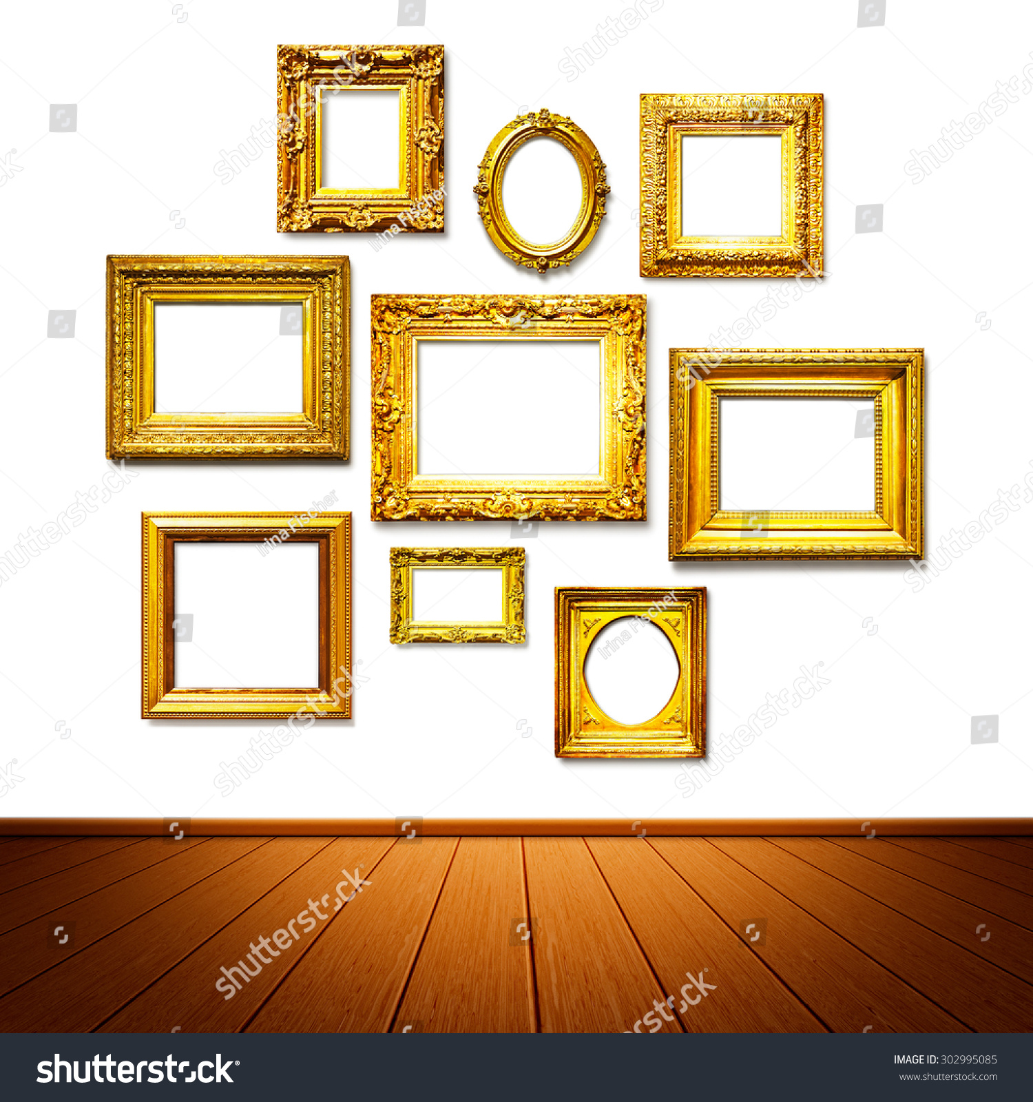 Antique Golden Frames On Wall Art Stock Photo (Royalty Free ...