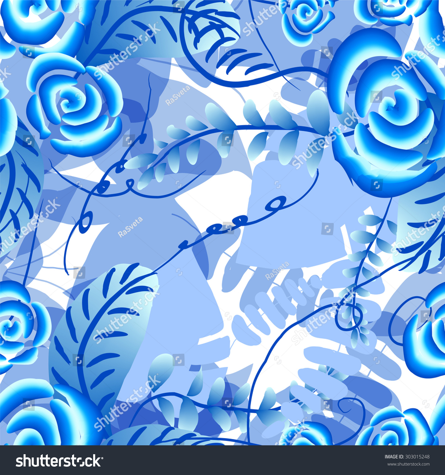 Artistic floral element abstract gzhel folk art blue flowers stock - Abstract Floral Seamless Background Pattern With Folk Art Flowers Blue White Gzhel Ornament Preview Save To A Lightbox