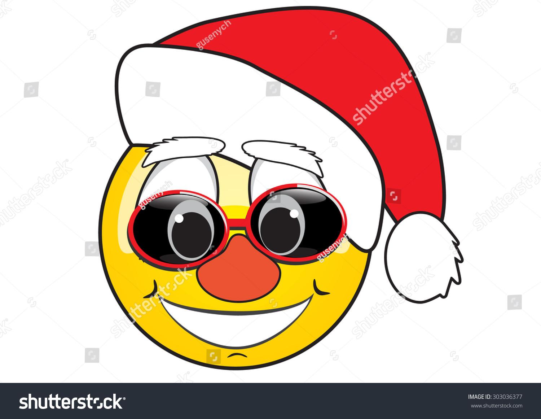 Smiley Red Cap Santa Claus Emoticon Stock Vector 303036377