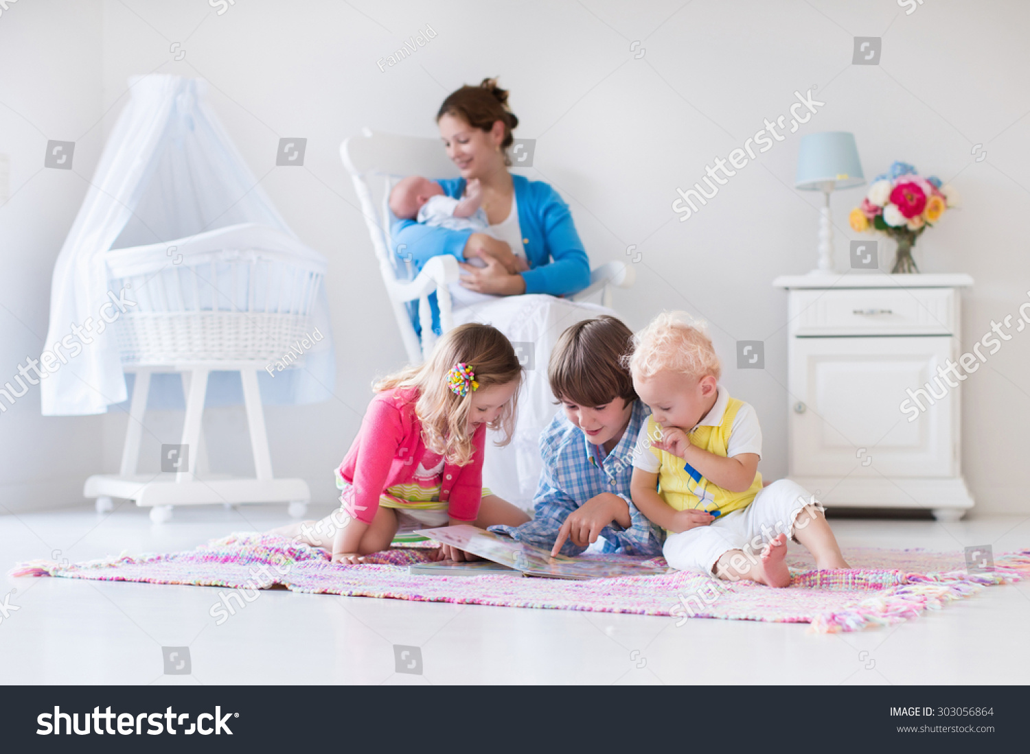 Mother Children Play Indoors Family Kids Stock Photo